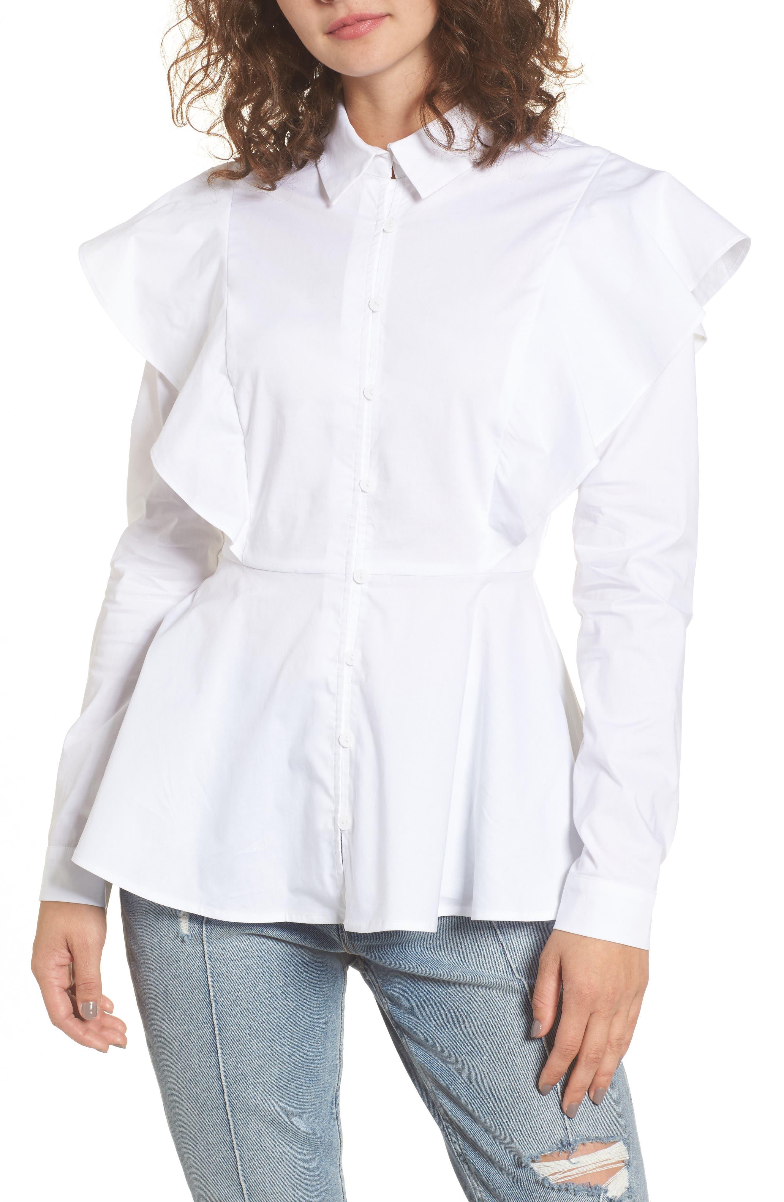 Ruffle Shoulder Peplum Top,                         Main,                         color, White