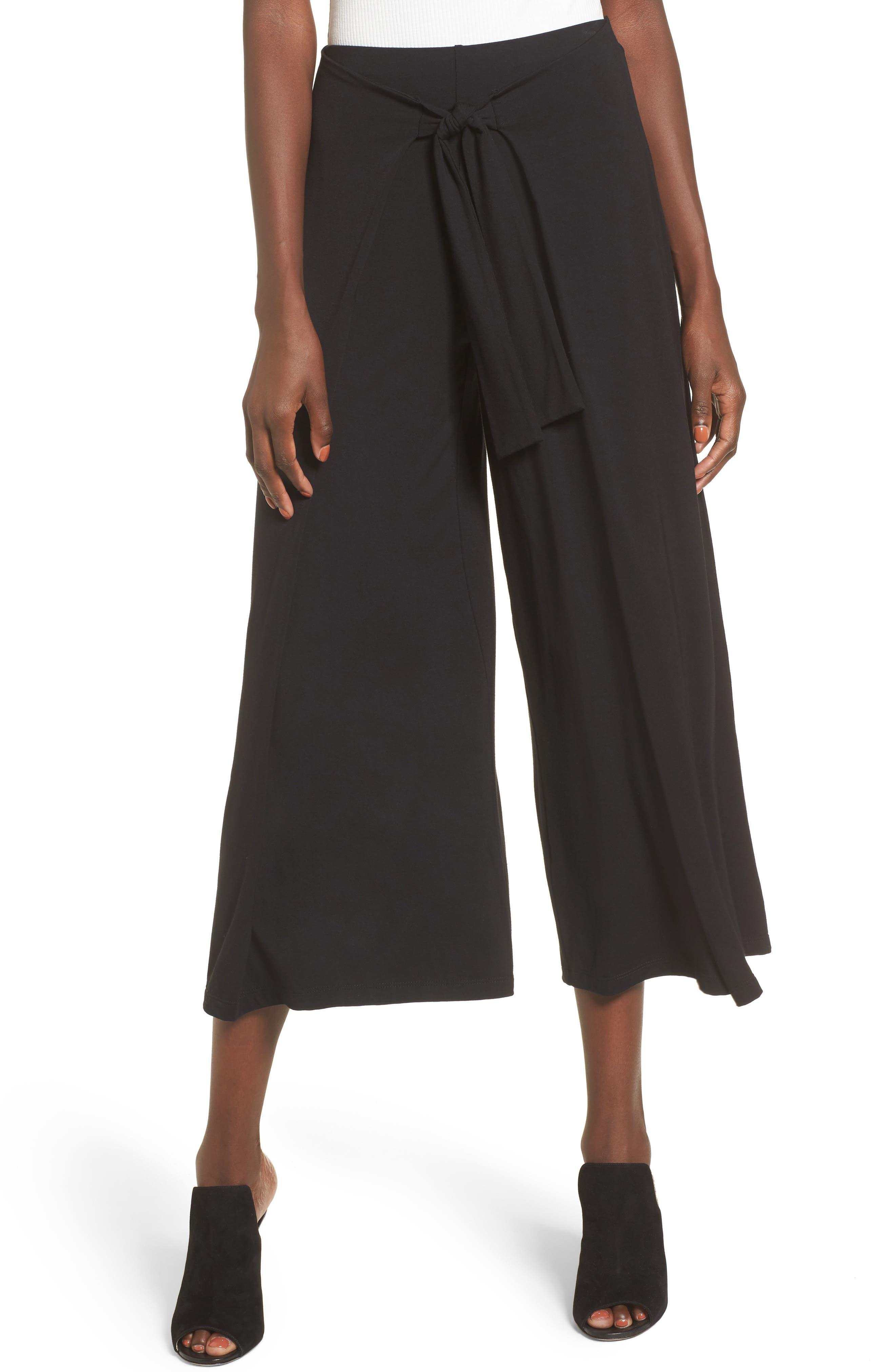 Tie Front Wide Leg Pants,                             Main thumbnail 1, color,                             Black