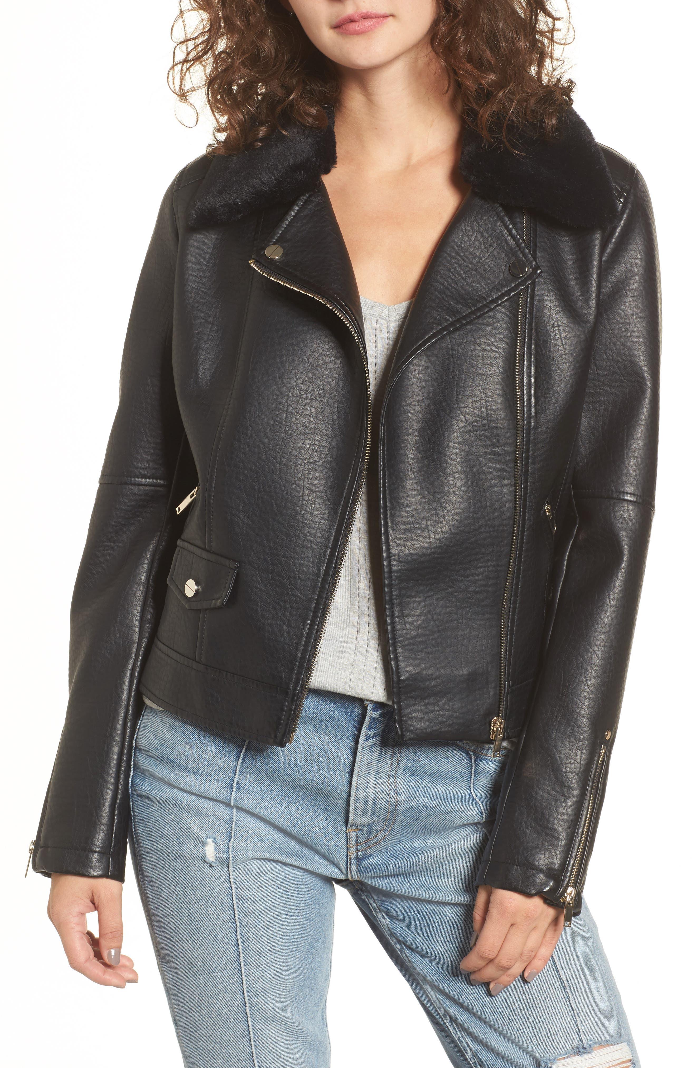 Textured Faux Leather Jacket with Removable Faux Fur Trim,                             Main thumbnail 1, color,                             Black
