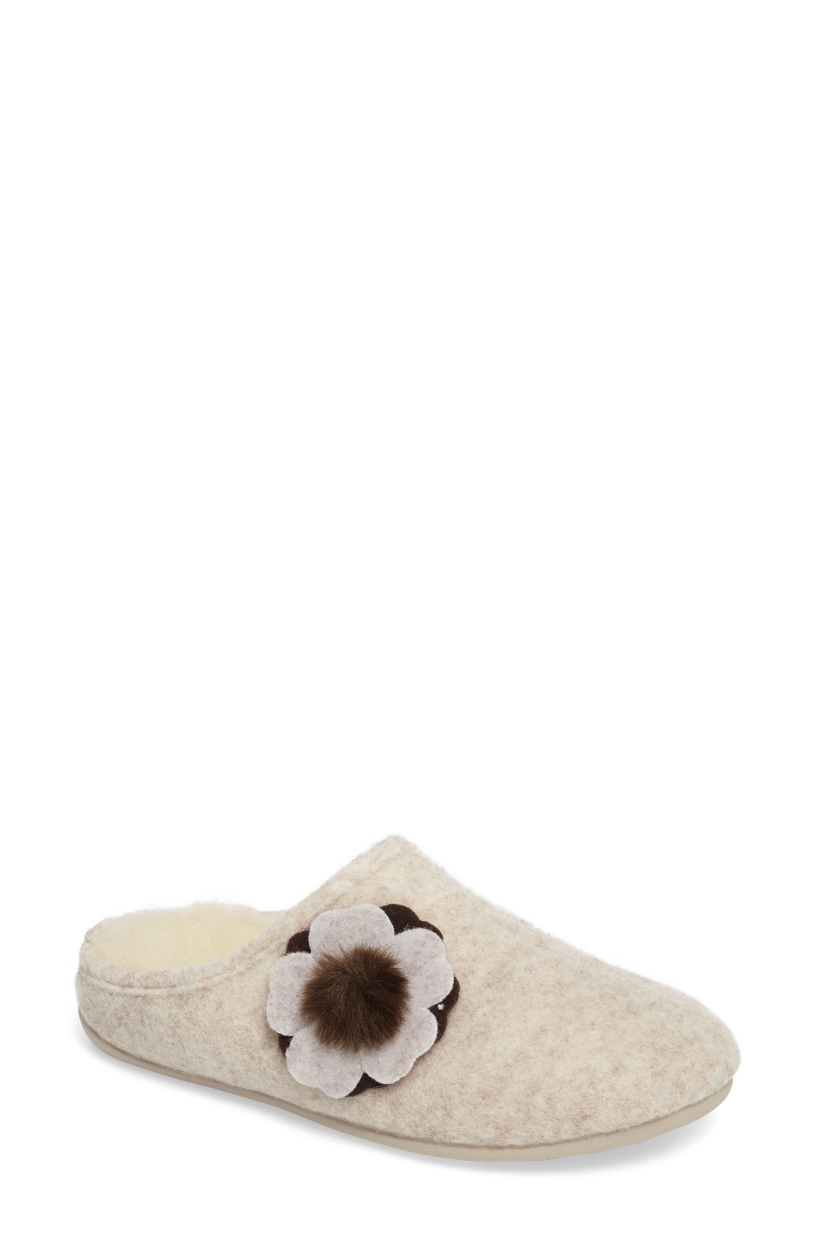 Emma Slipper,                             Main thumbnail 1, color,                             Cream Fabric