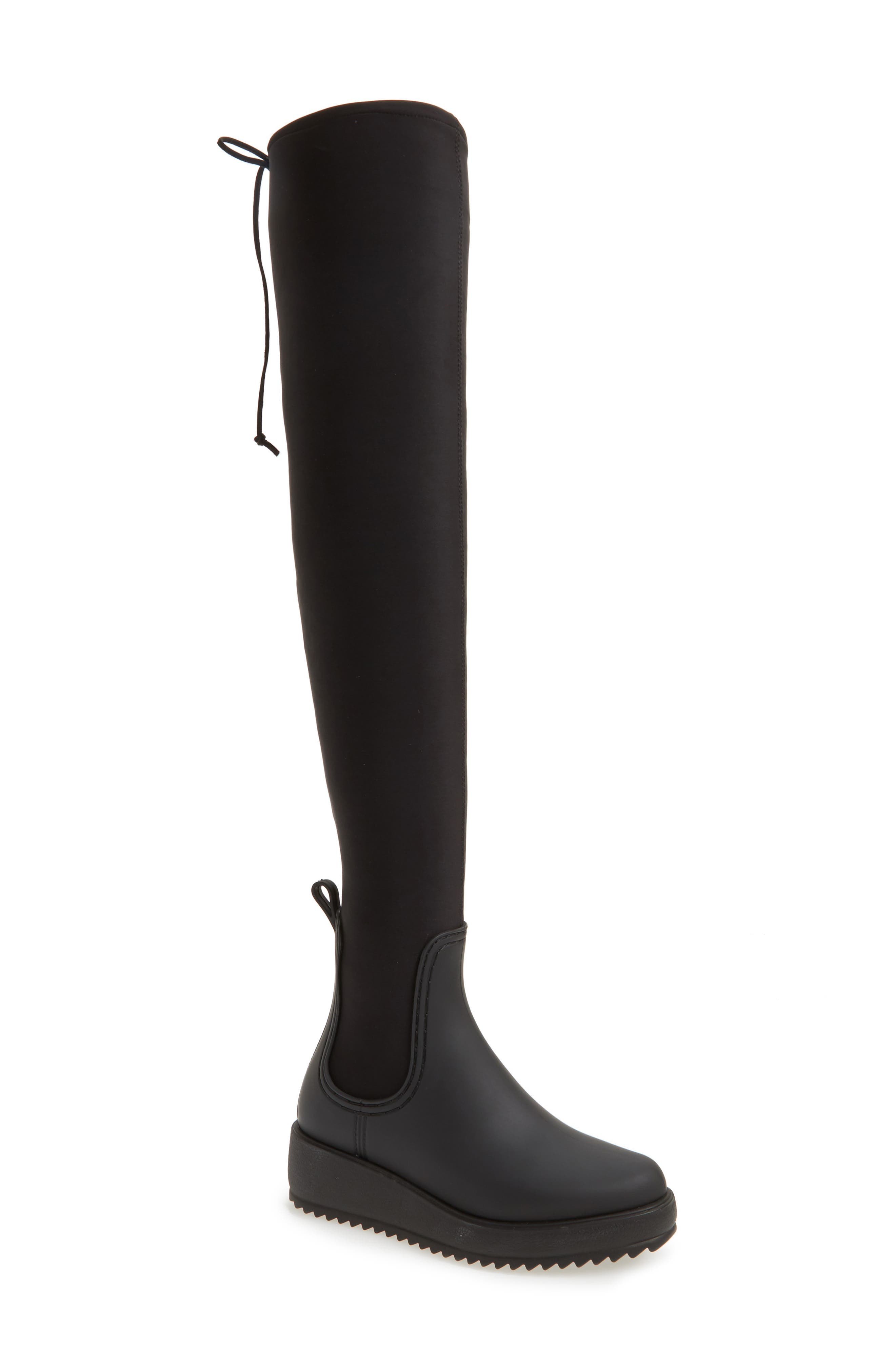 Monsoon Over the Knee Platform Rain Boot,                             Main thumbnail 1, color,                             Black Black Neoprene