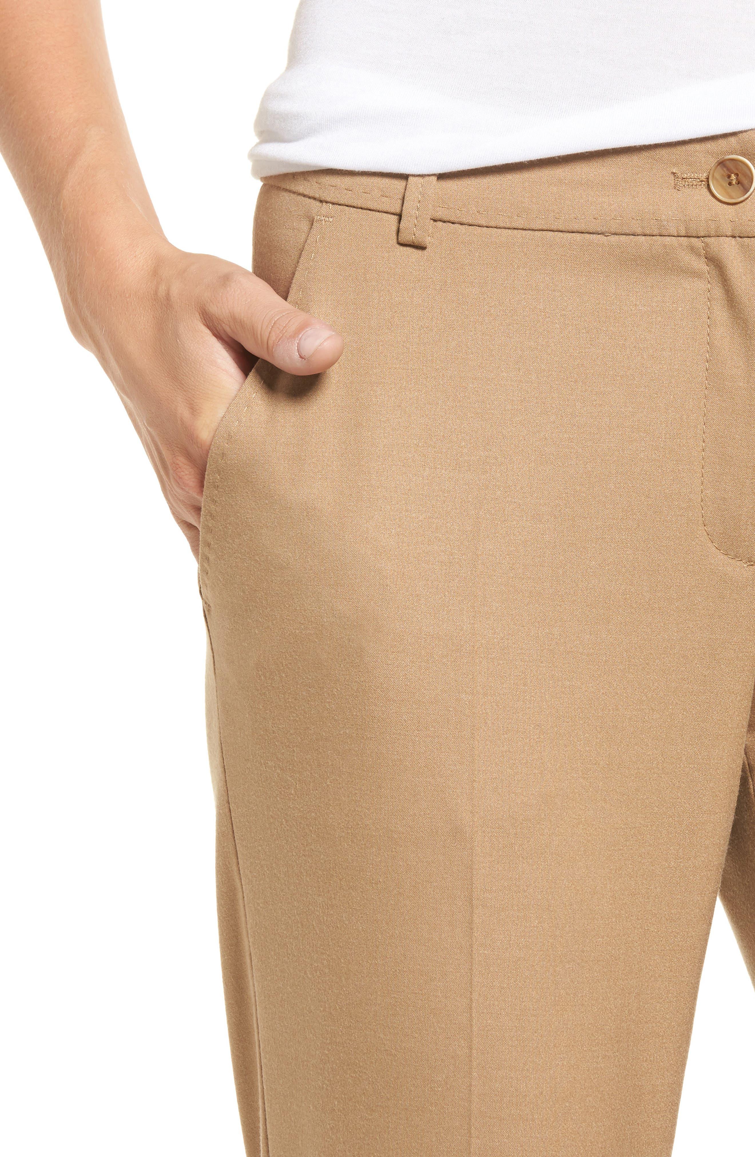 Straight Leg Trousers,                             Alternate thumbnail 4, color,                             Camel