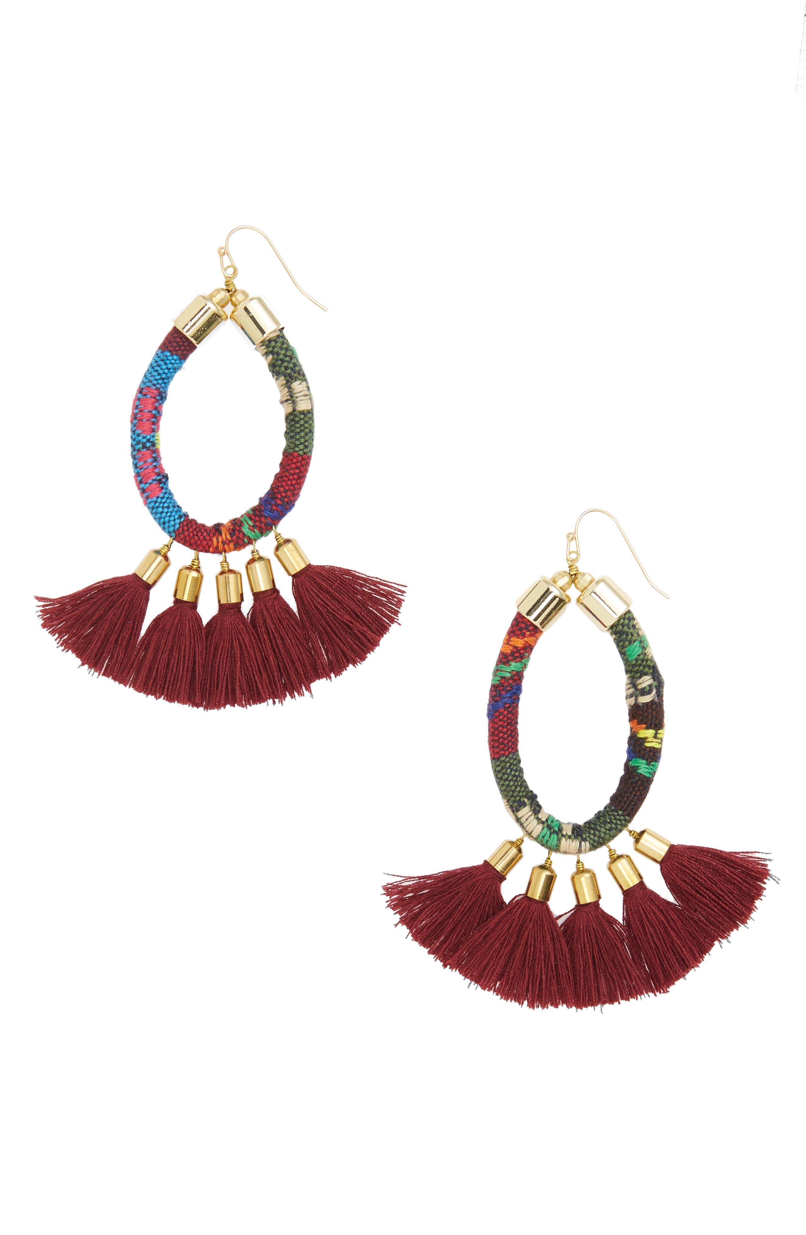 Tassel Earrings,                         Main,                         color, Burgundy