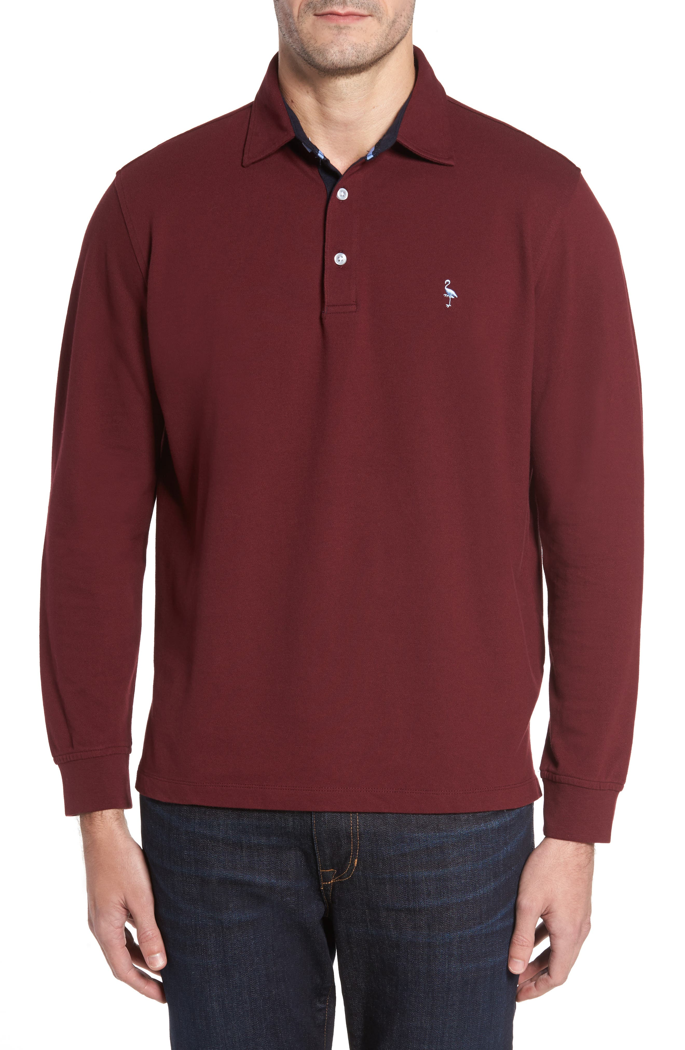 Main Image - TailorByrd Two-Tone Piqué Knit Polo