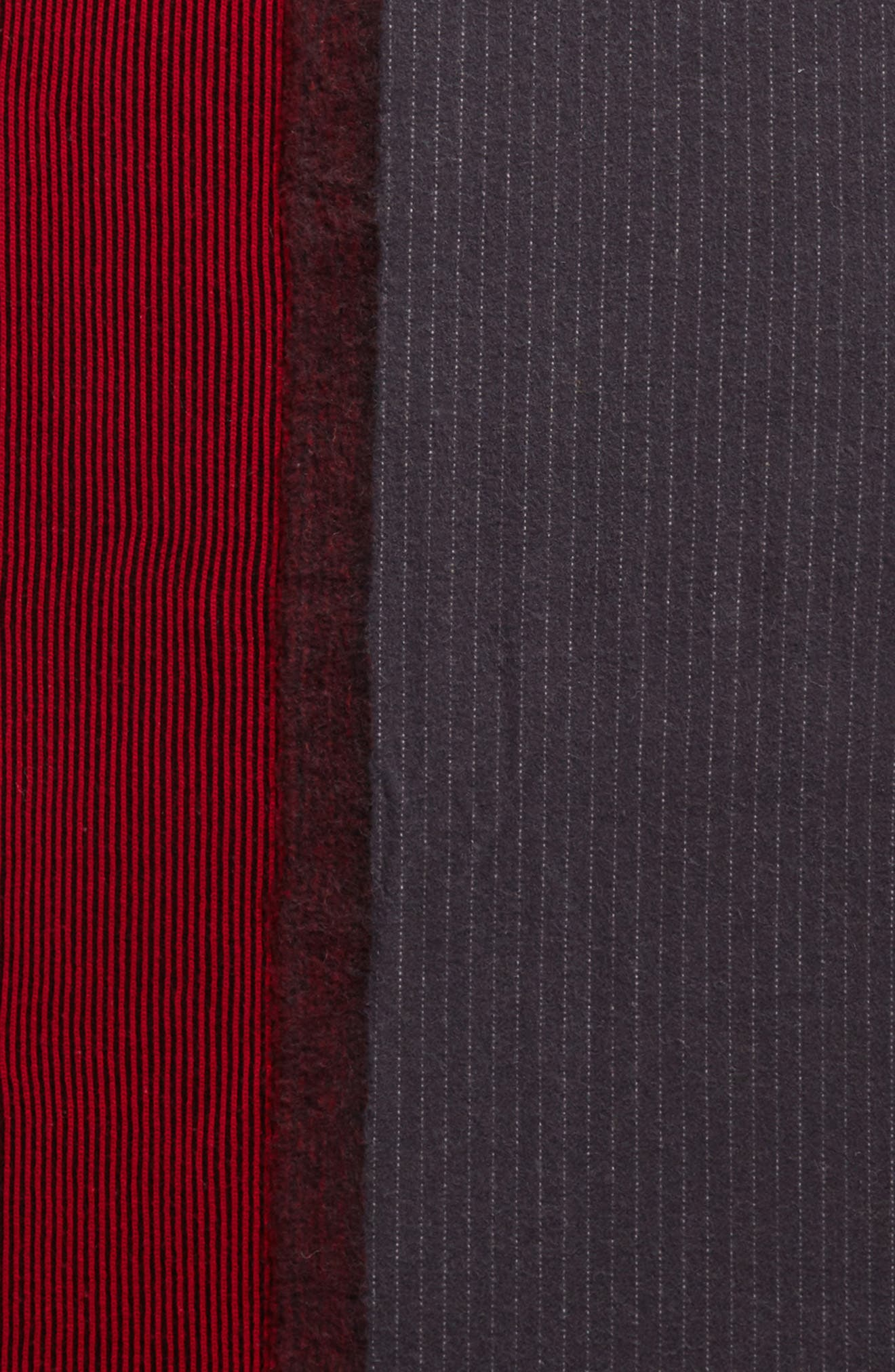 Pinstripe Wool & Cashmere Scarf,                             Alternate thumbnail 4, color,                             Navy/ Red
