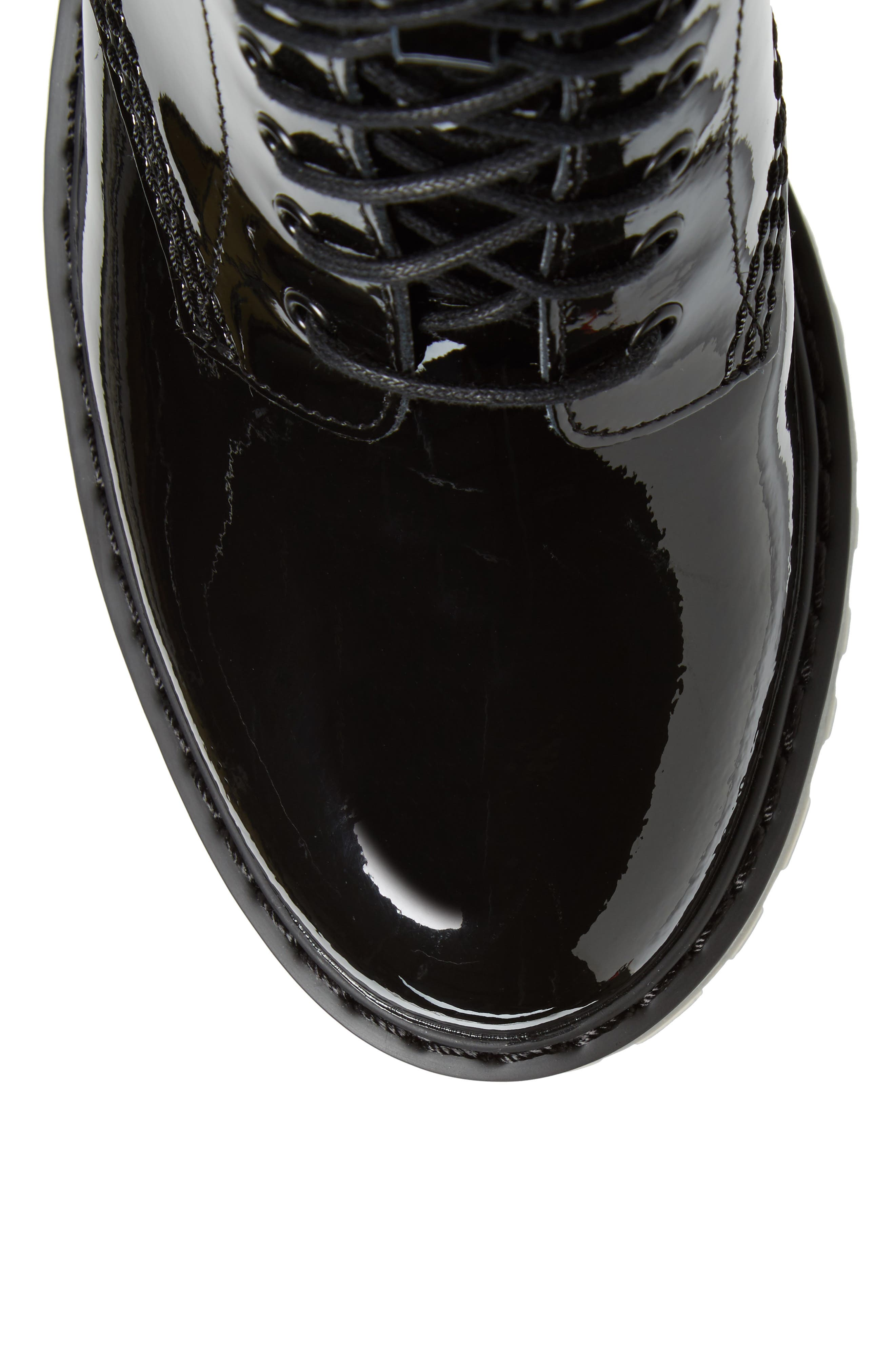 Kendra Heeled Bootie,                             Alternate thumbnail 5, color,                             Black Patent Leather