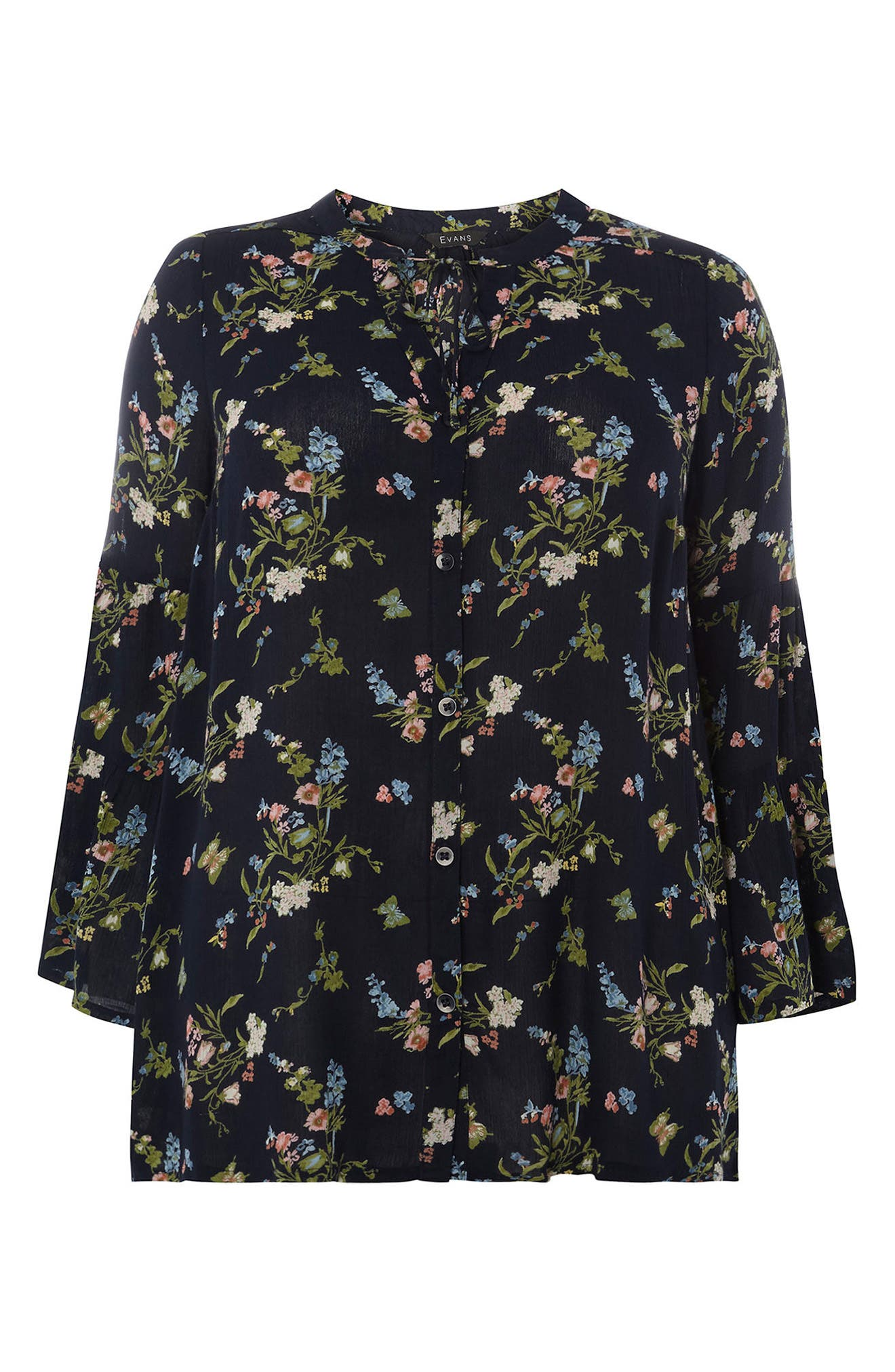 Bell Sleeve Top,                             Alternate thumbnail 5, color,                             Navy