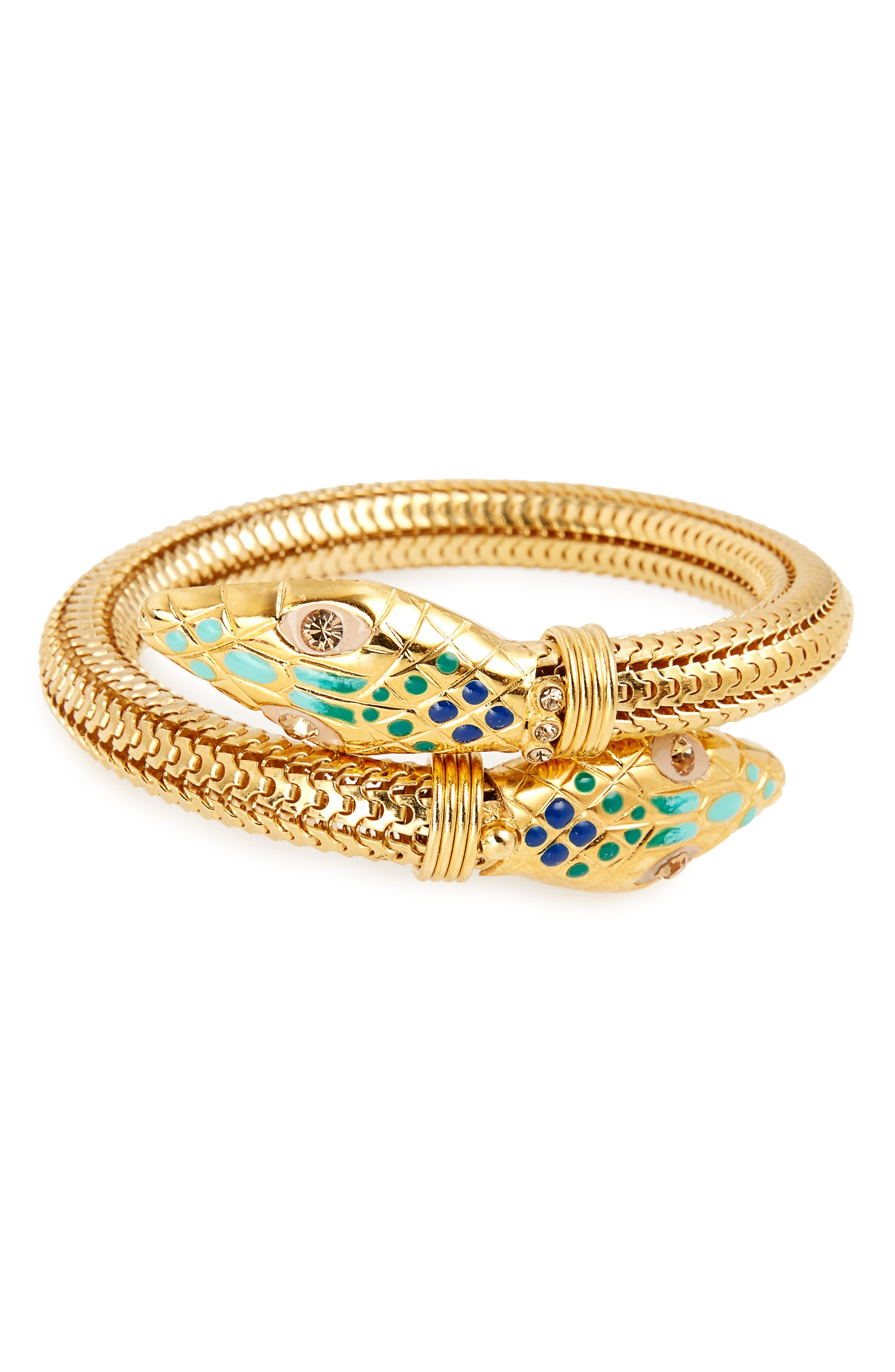 'Cobra' Enameled Bracelet,                             Main thumbnail 1, color,                             Blue Turquoise/ Gold