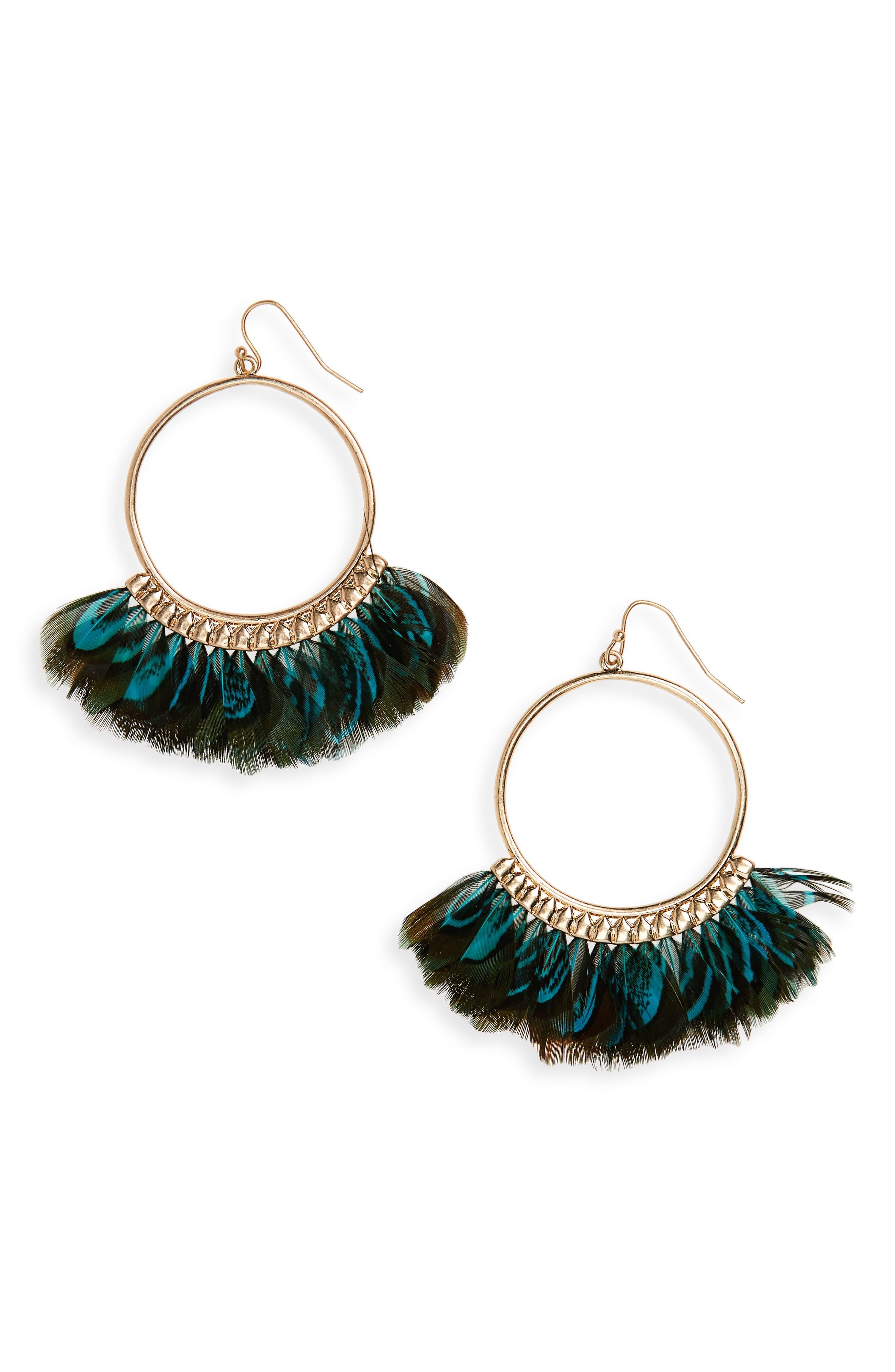 Canvas Jewelry Feather Hoop Earrings