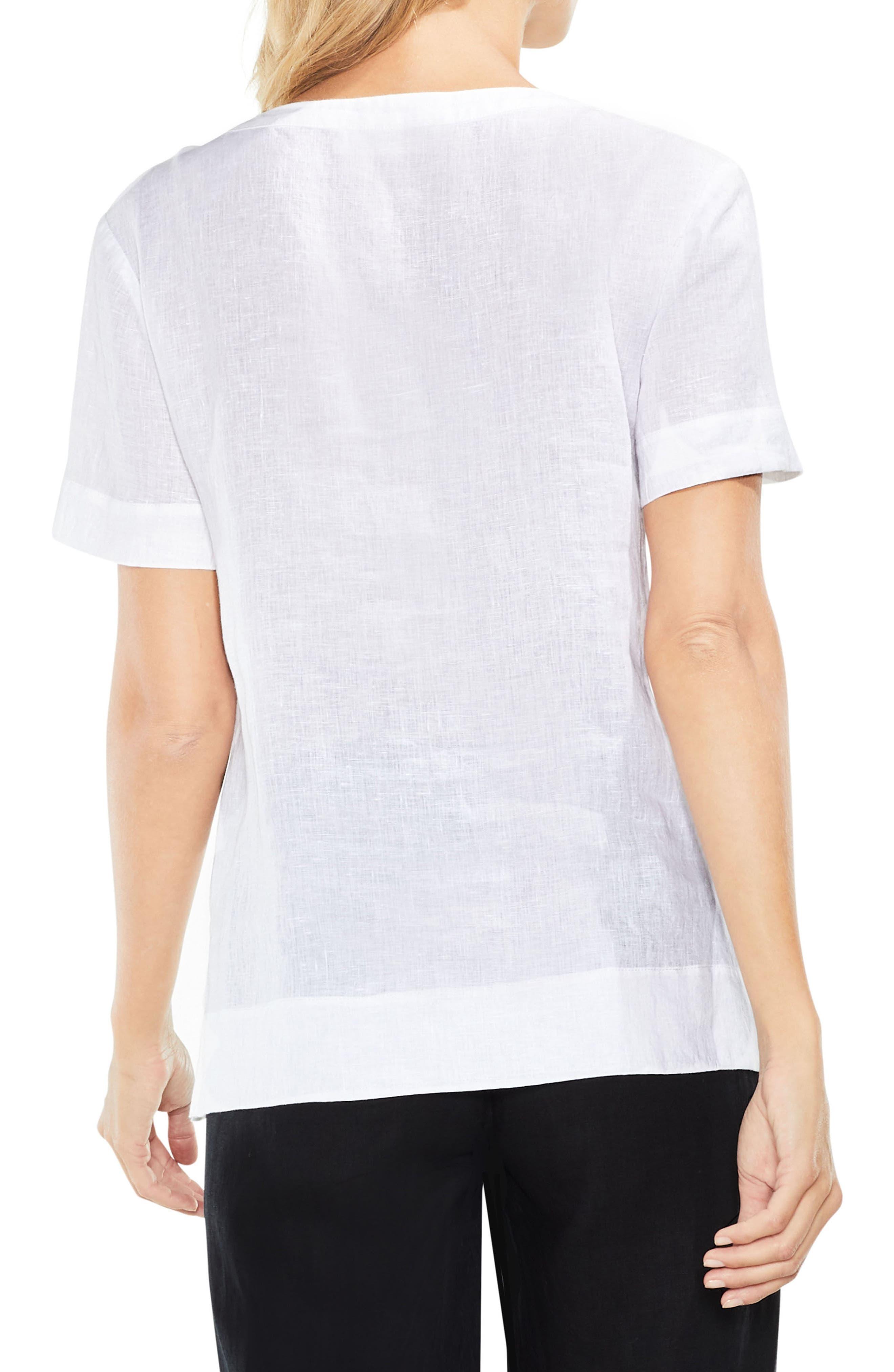 Lace-Up Linen Blouse,                             Alternate thumbnail 3, color,                             Ultra White