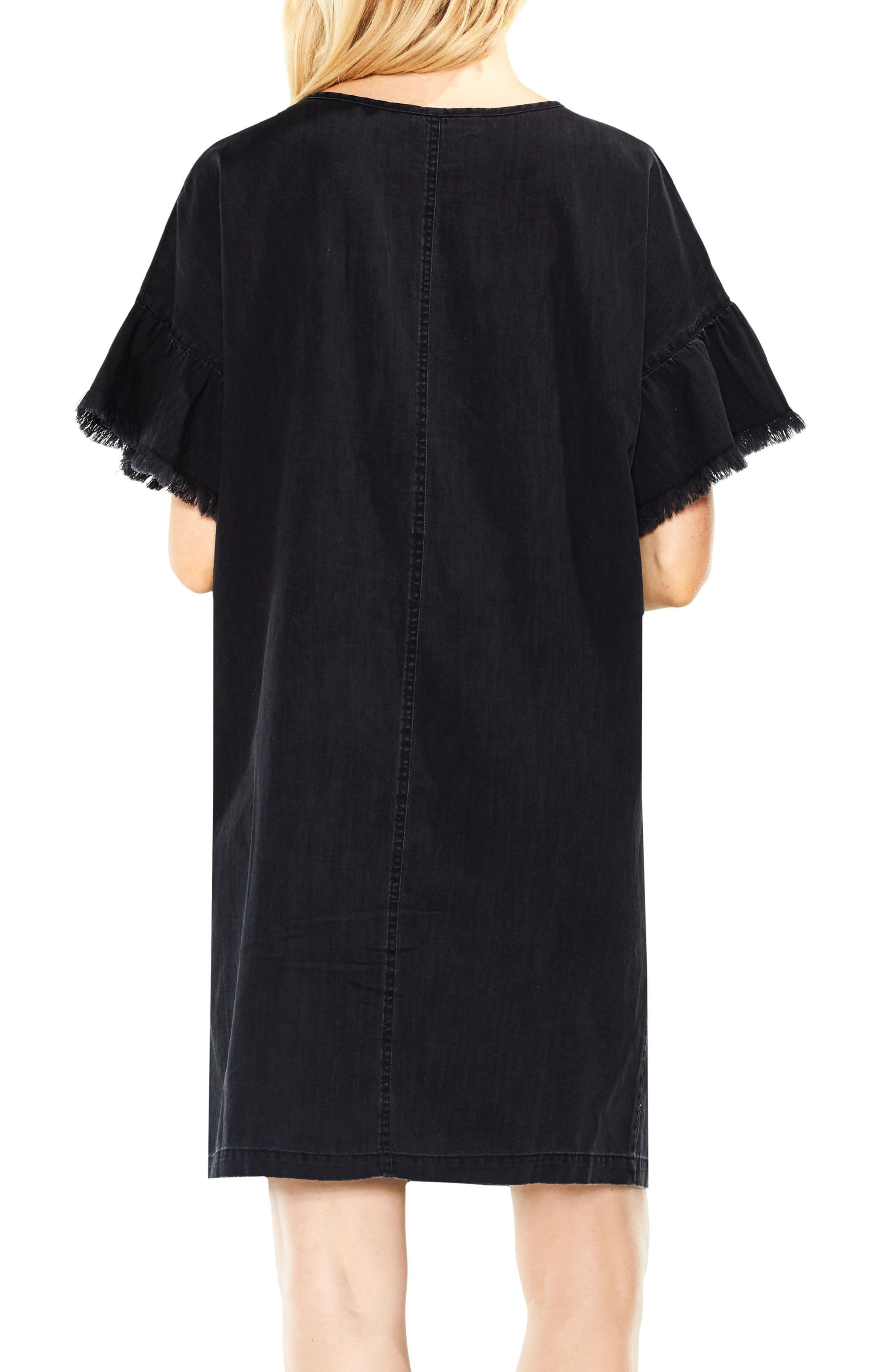Ruffle Sleeve Denim Shift Dress,                             Alternate thumbnail 2, color,                             Rich Black