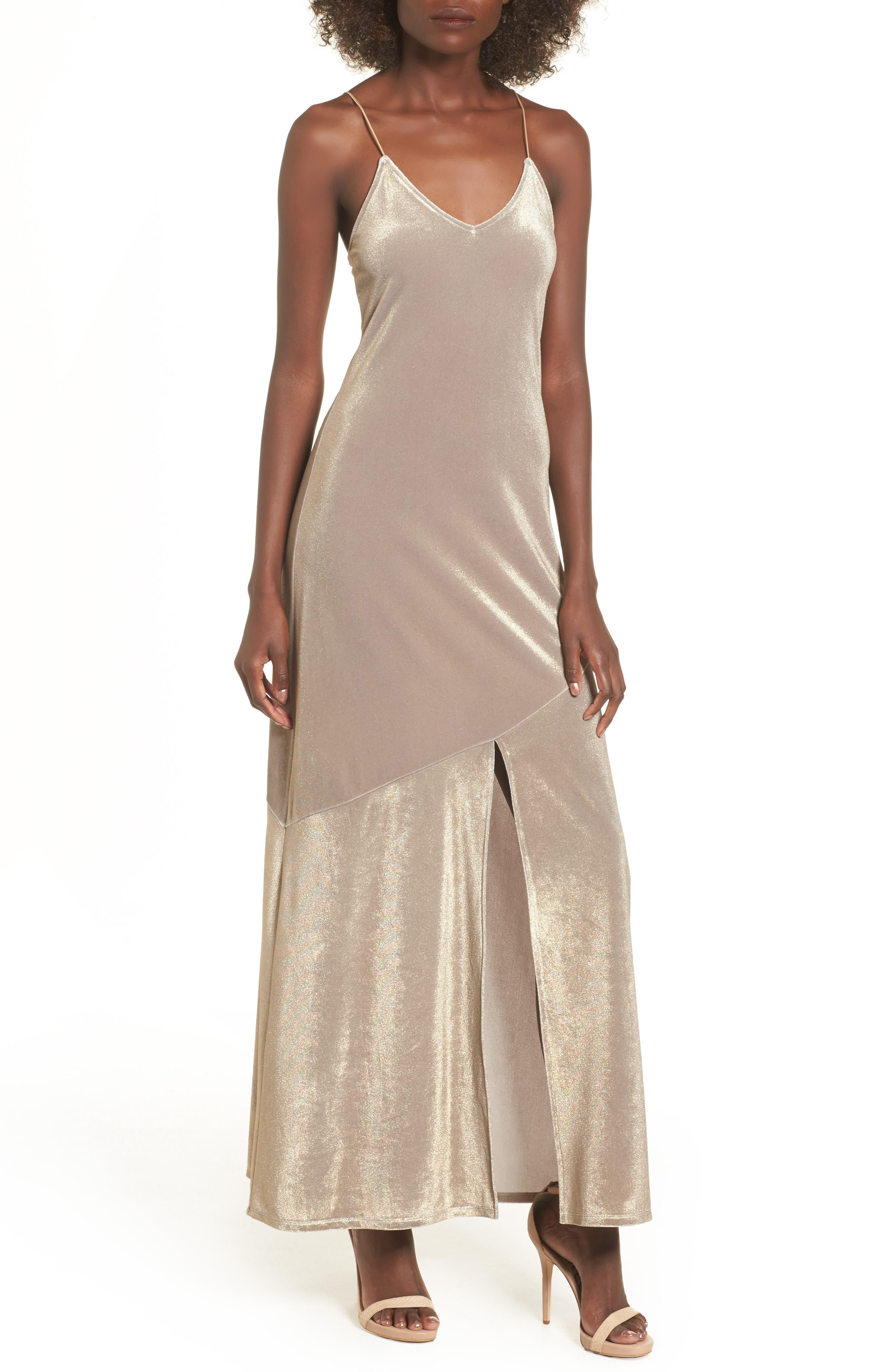 Shine Maxi Dress,                         Main,                         color, Metallic Bubble