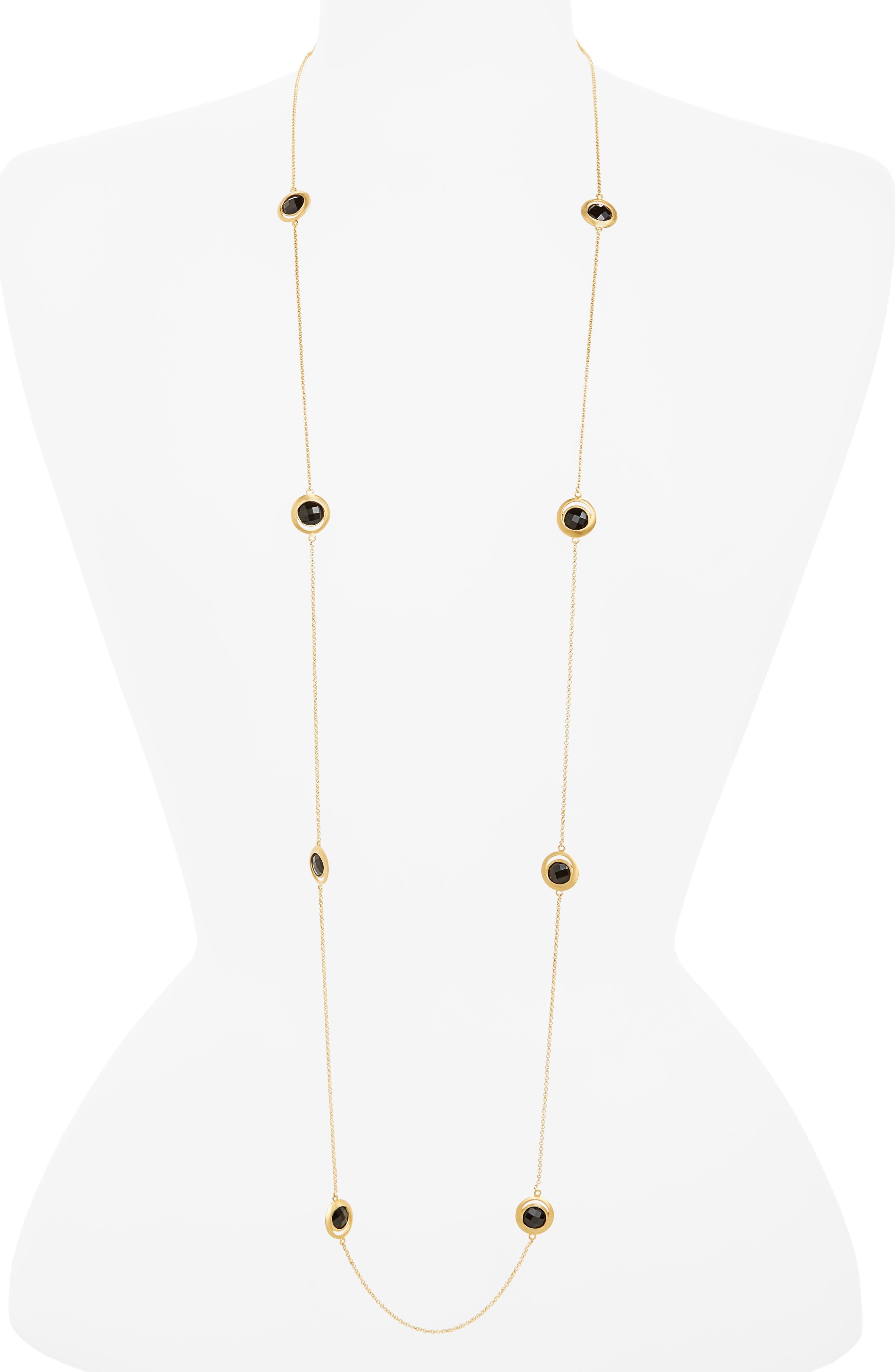 Lapa Semiprecious Stone Station Necklace,                             Main thumbnail 1, color,                             Black Onyx/ Gold