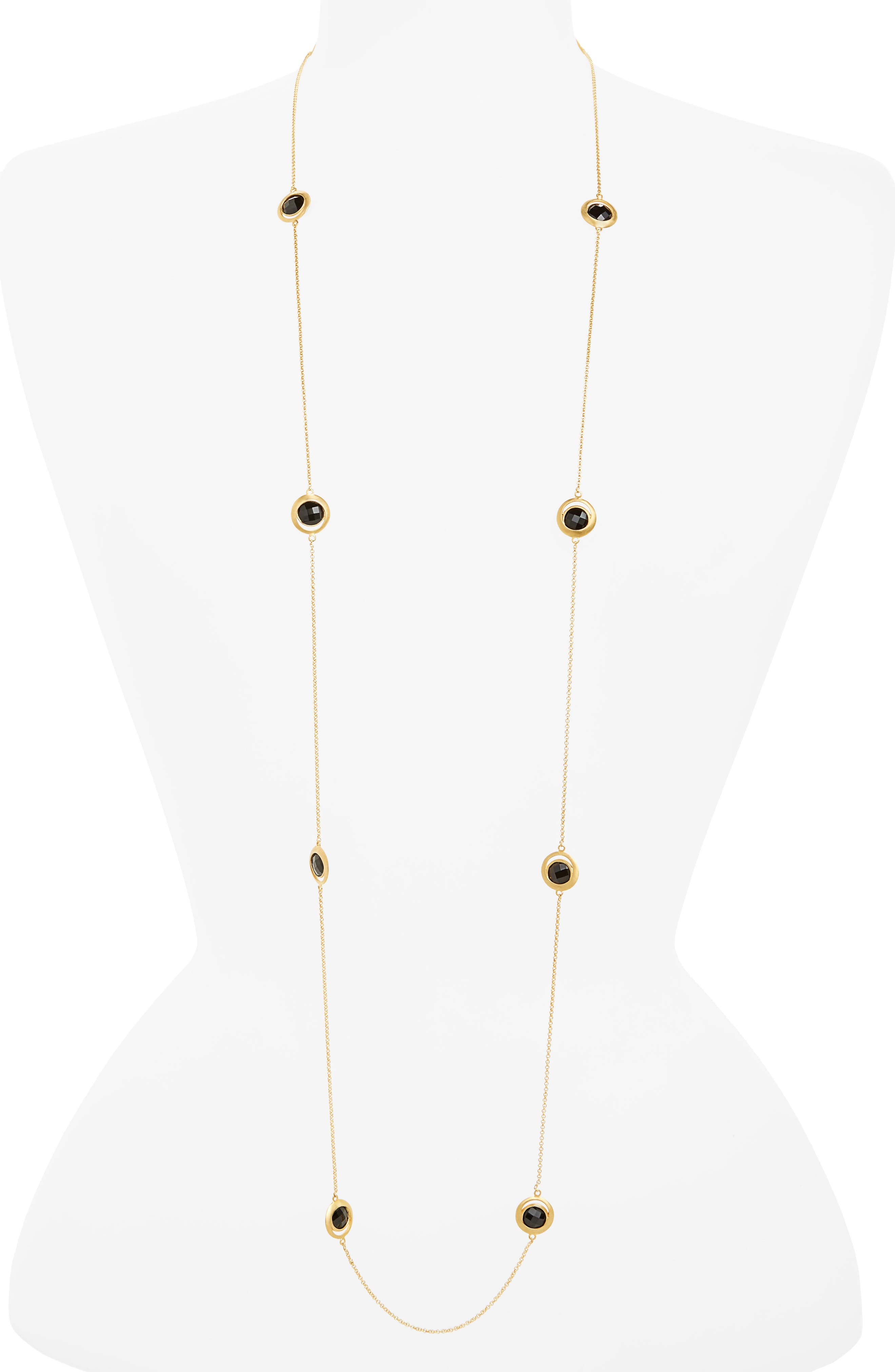 Lapa Semiprecious Stone Station Necklace,                         Main,                         color, Black Onyx/ Gold