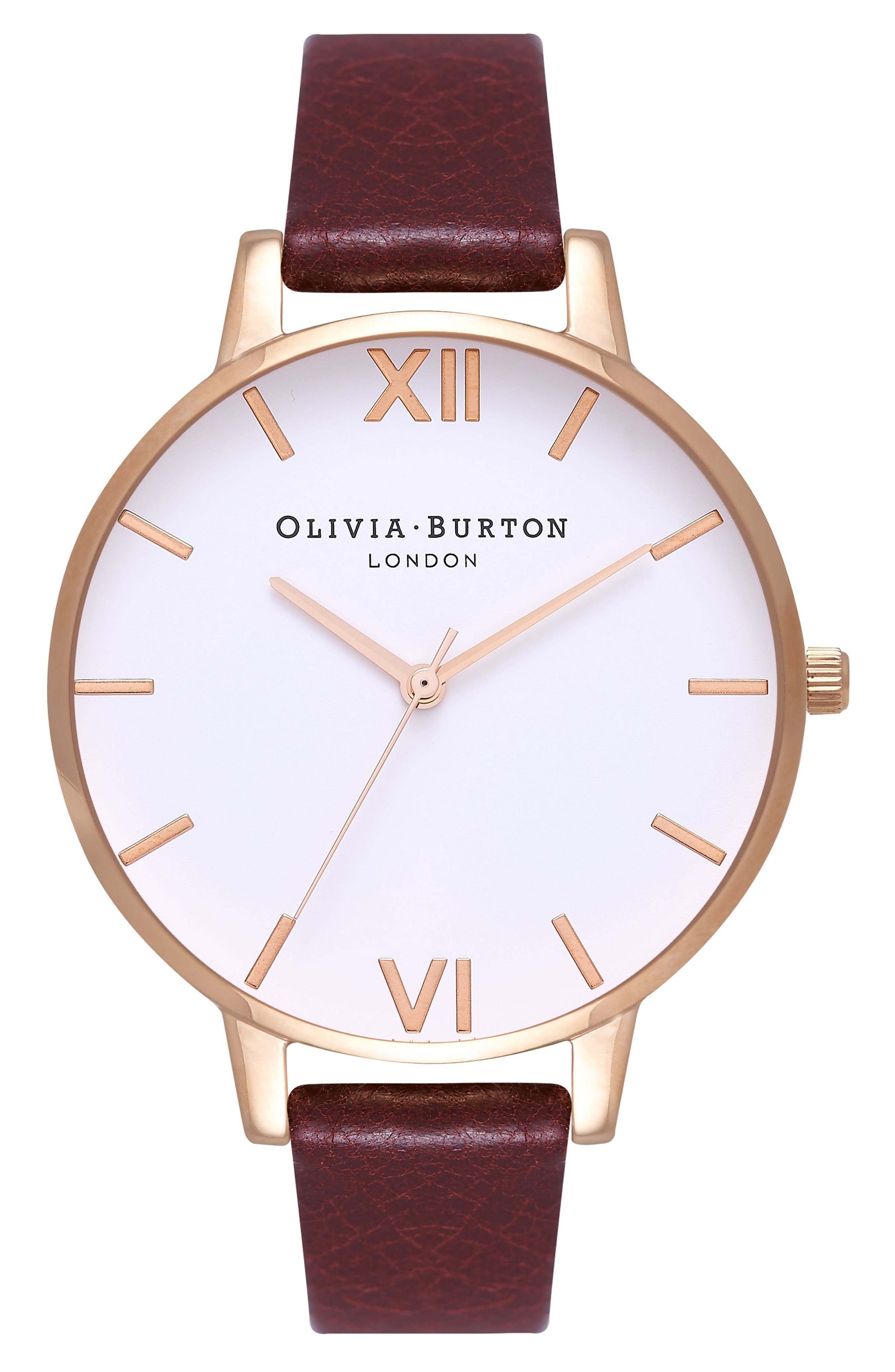 Big Dial Leather Strap Watch, 38mm,                         Main,                         color, Burgundy/ White/ Rose Gold