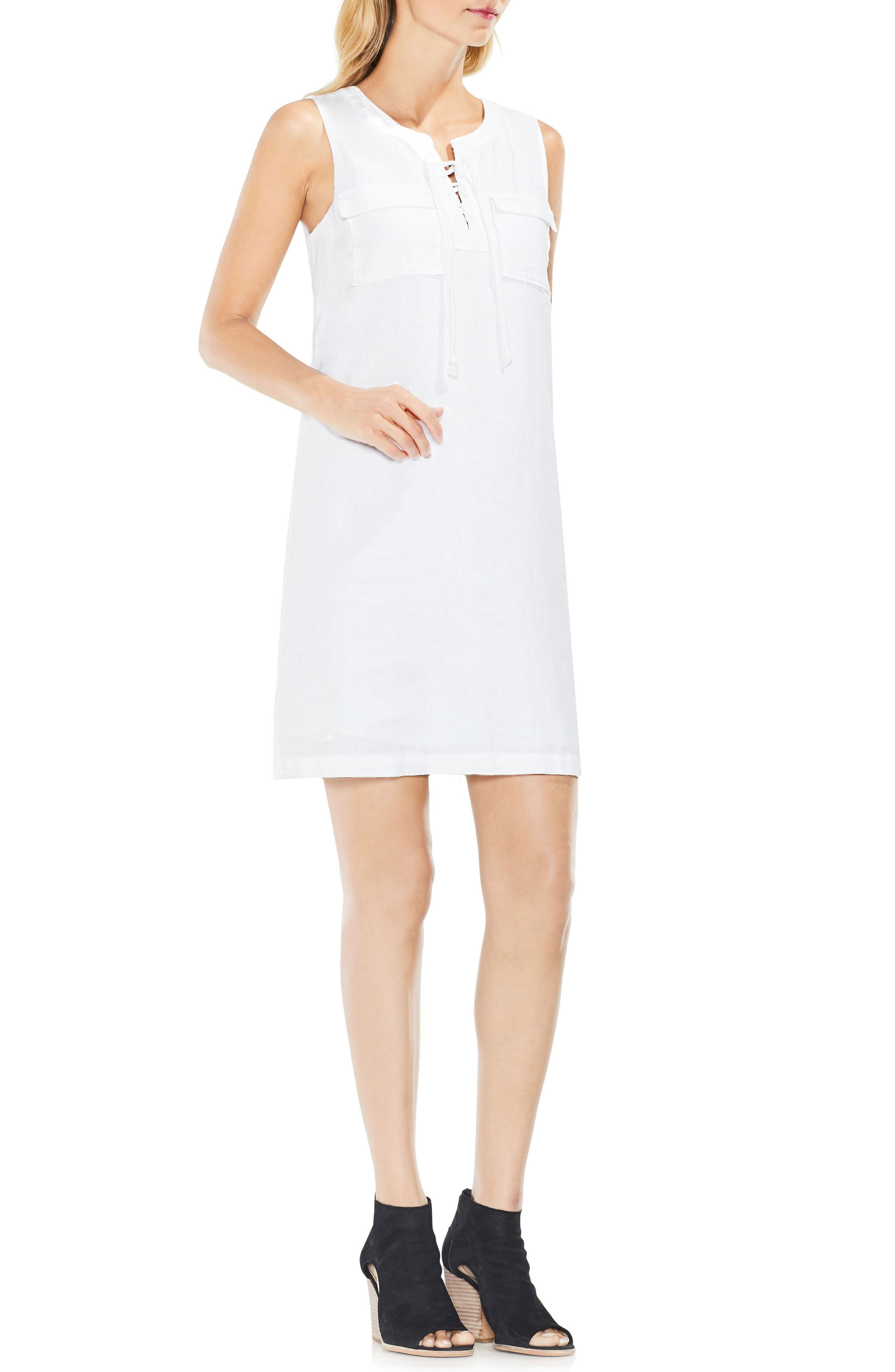 Alternate Image 2  - Two by Vince Camuto Lace-Up Linen Shift Dress