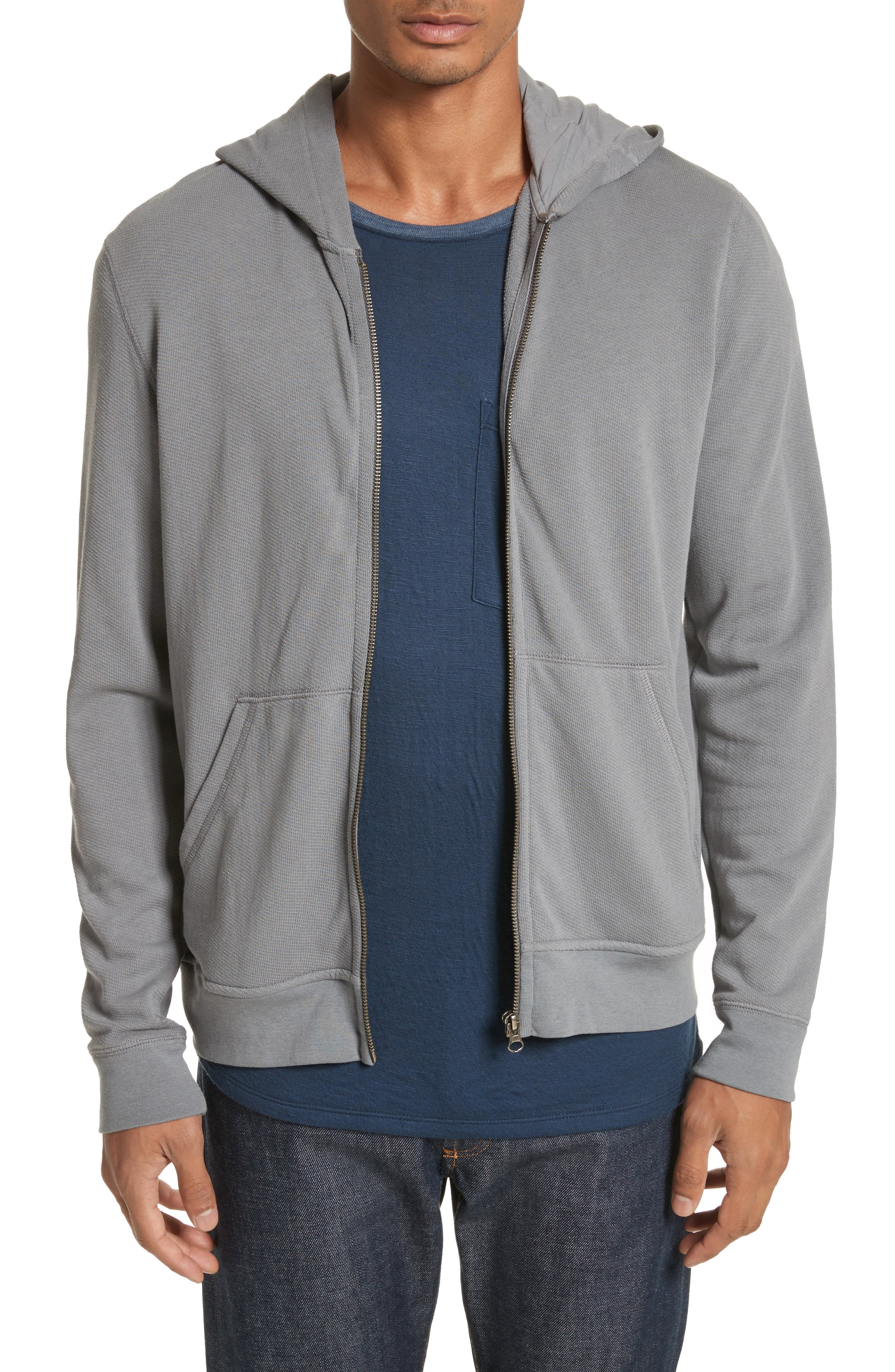 French Terry Zip Hoodie,                         Main,                         color, Solid Dark Grey