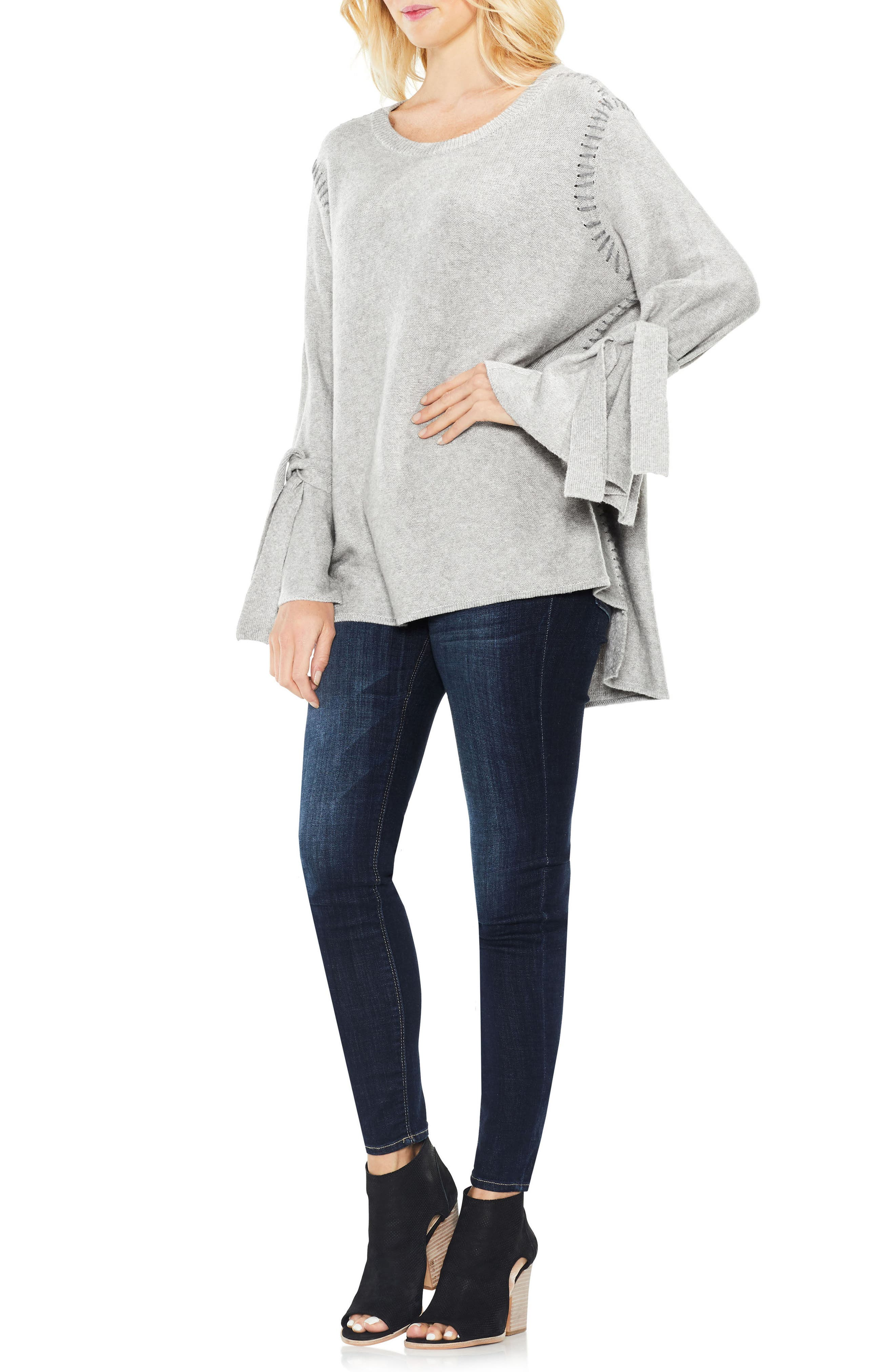 Alternate Image 2  - Two by Vince Camuto Tie Sleeve Sweater