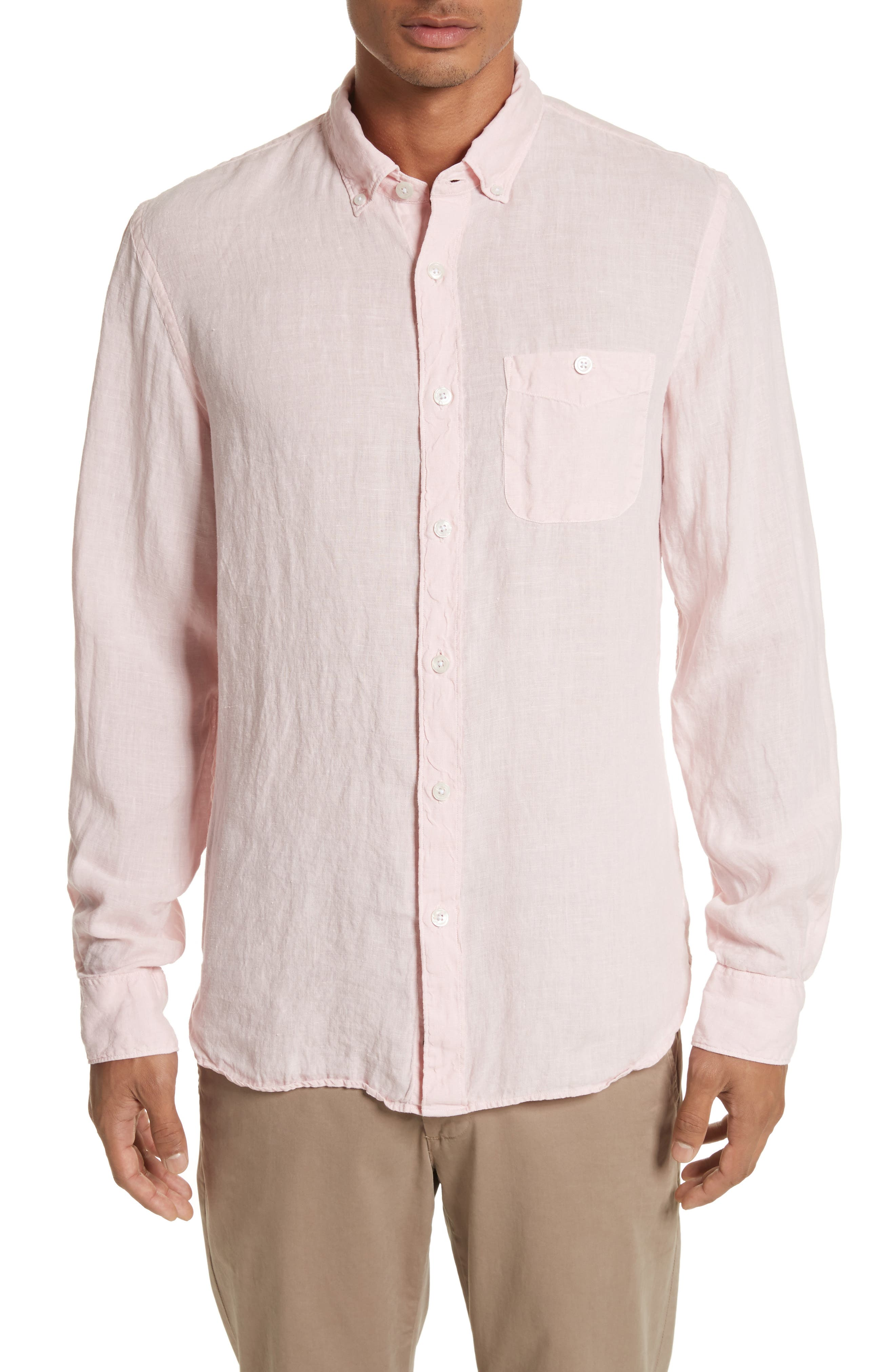 Linen Woven Shirt,                             Main thumbnail 1, color,                             Pink