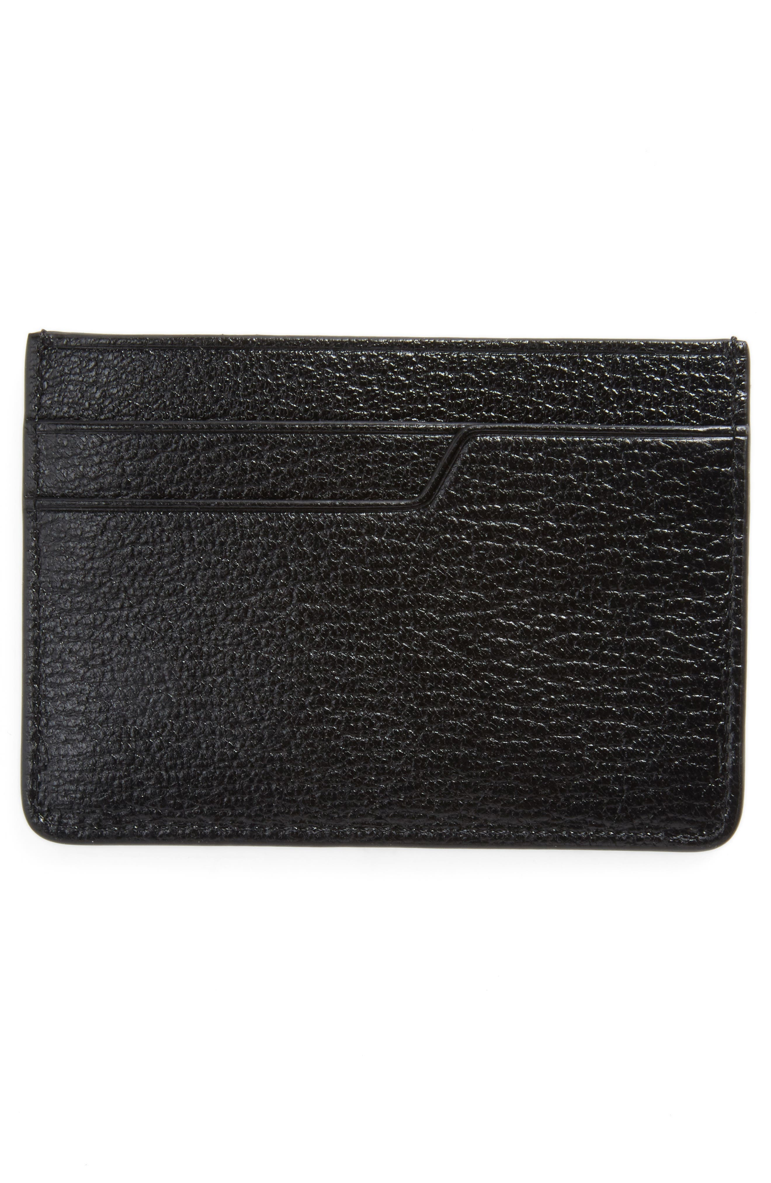 Eyes Leather Card Case,                             Alternate thumbnail 2, color,                             Black