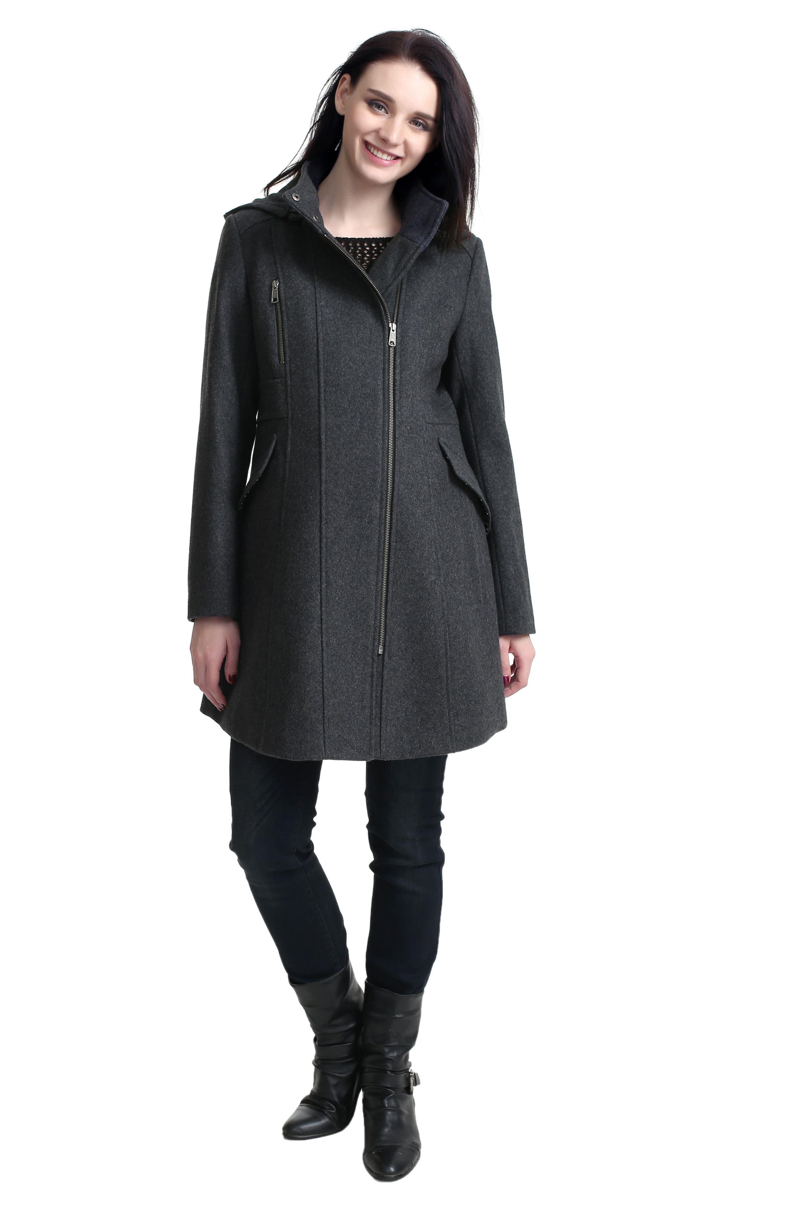 Alternate Image 2  - Kimi and Kai Cordella Wool Blend Hooded Maternity Coat