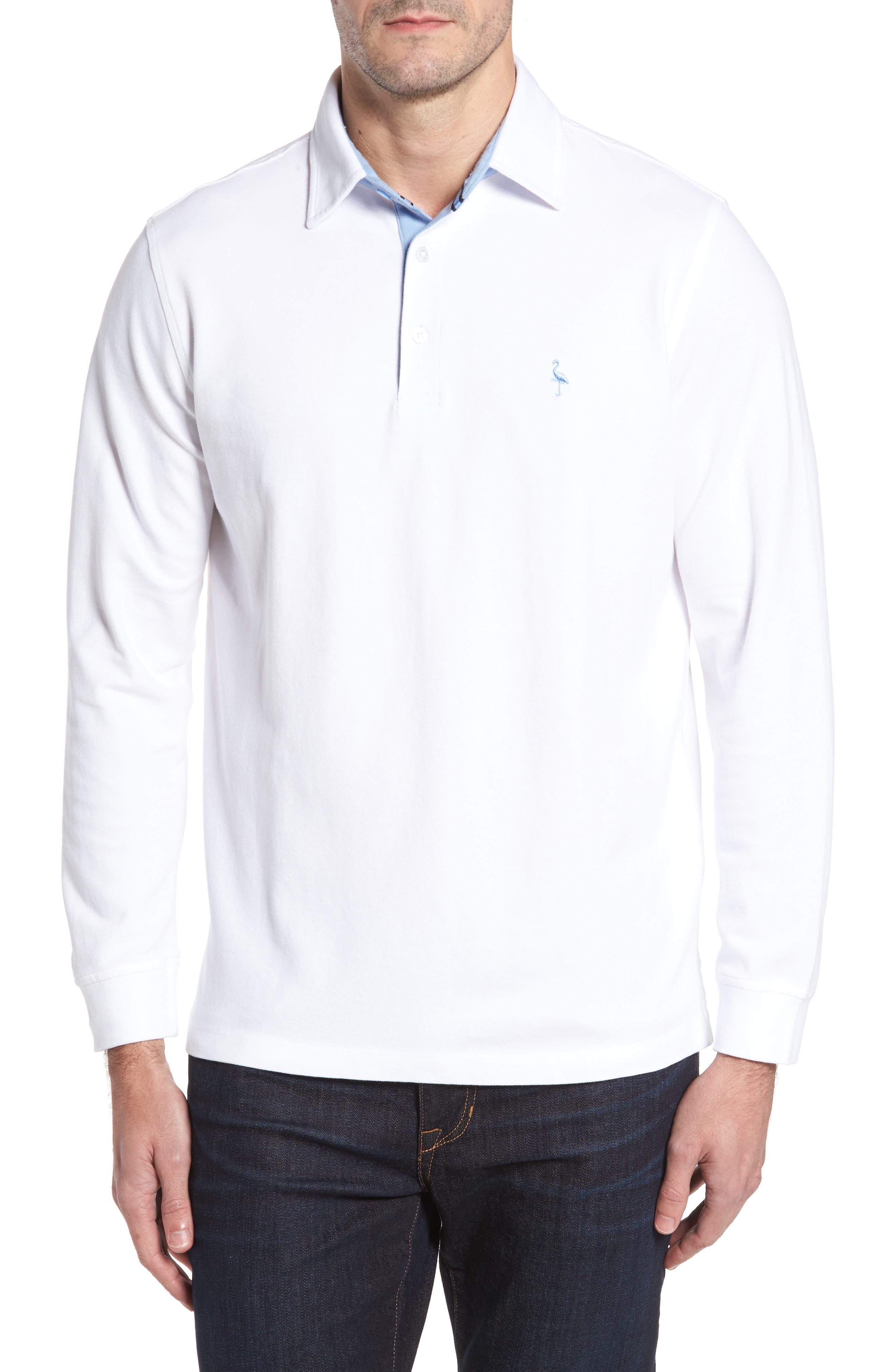 Two-Tone Piqué Knit Polo,                             Main thumbnail 1, color,                             Pure White