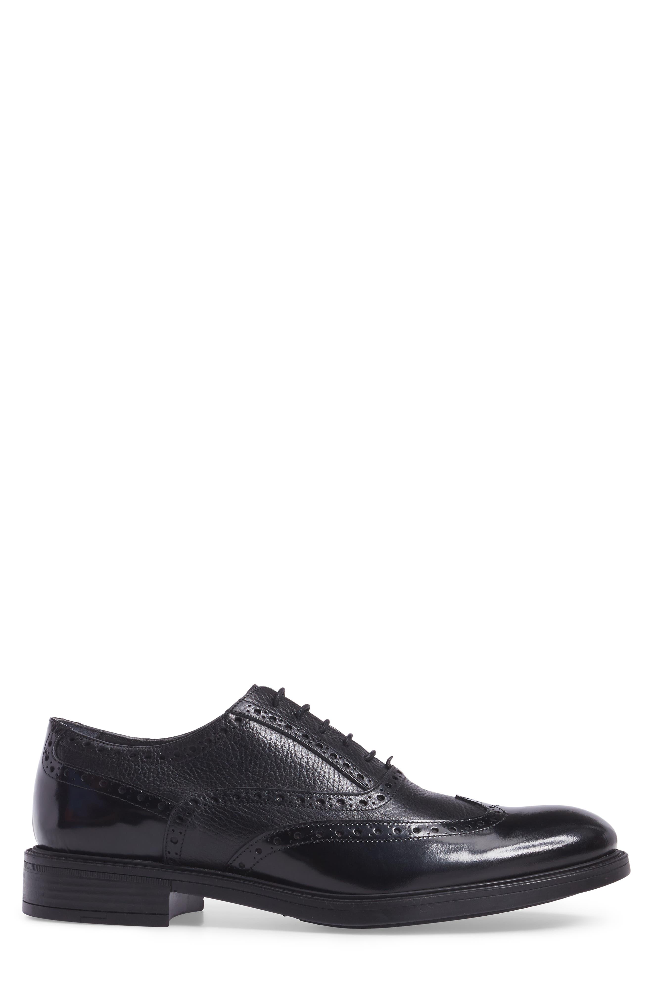 Wingtip,                             Alternate thumbnail 3, color,                             Black Leather