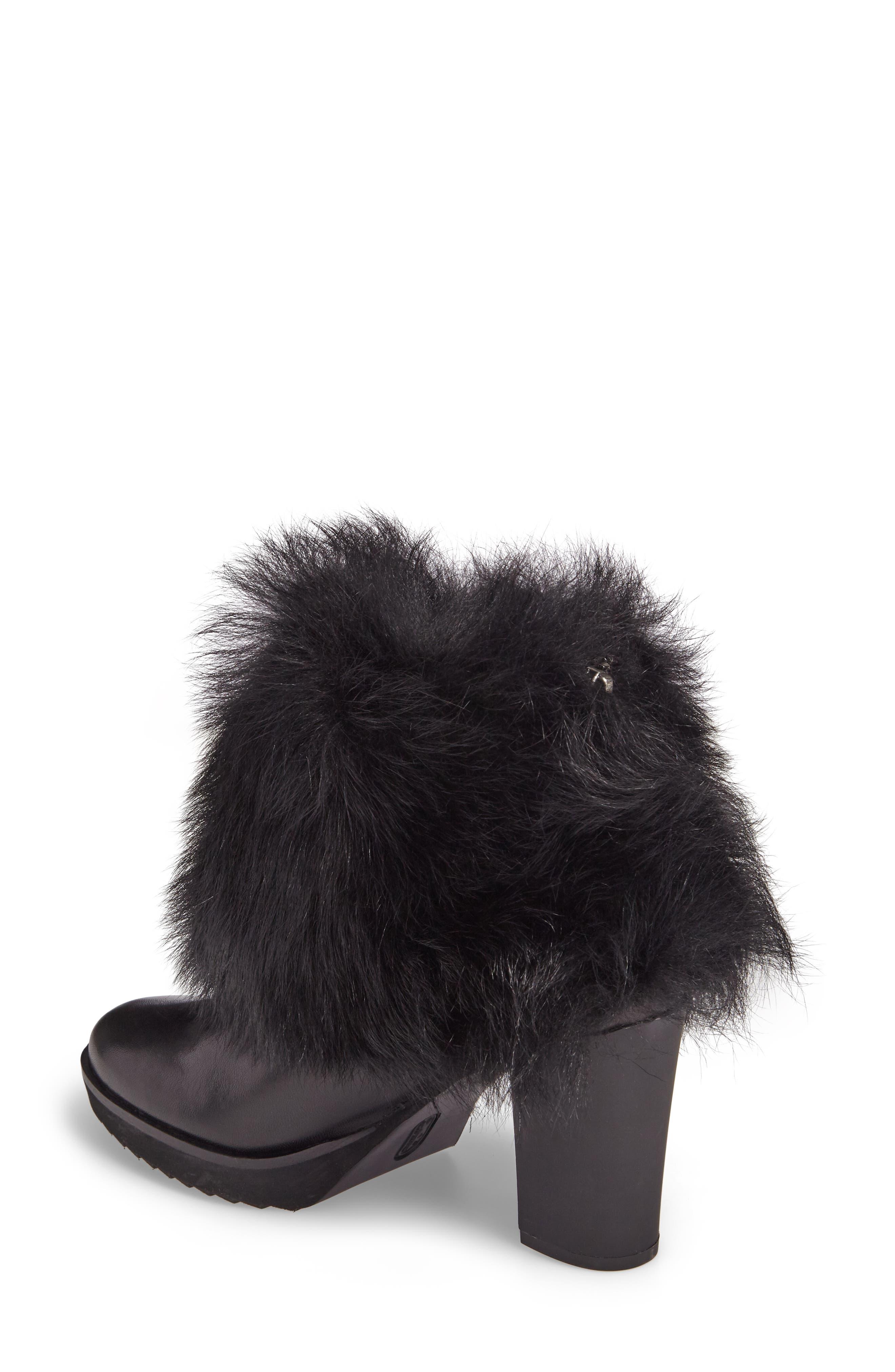 Roslyn Block Heel Genuine Shearling Bootie,                             Alternate thumbnail 2, color,                             Black Leather