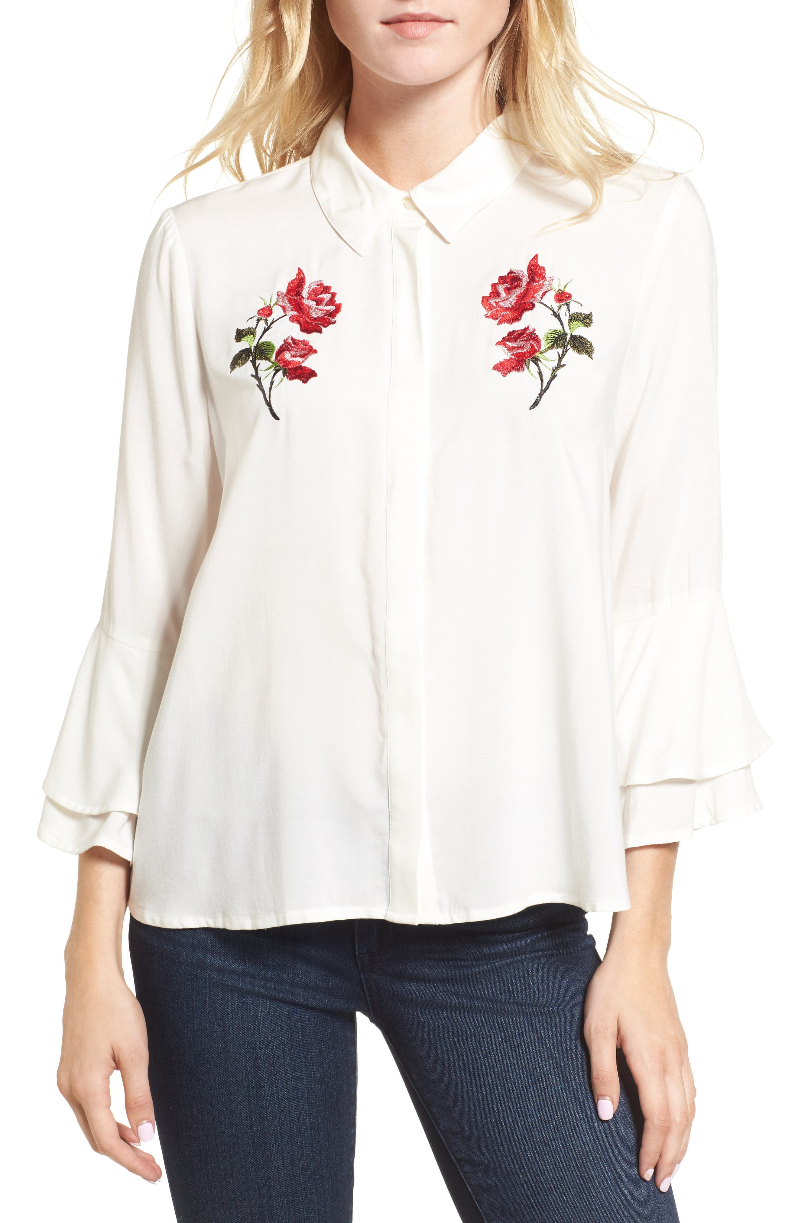Kymberly Embroidered Blouse,                             Main thumbnail 1, color,                             Ivory
