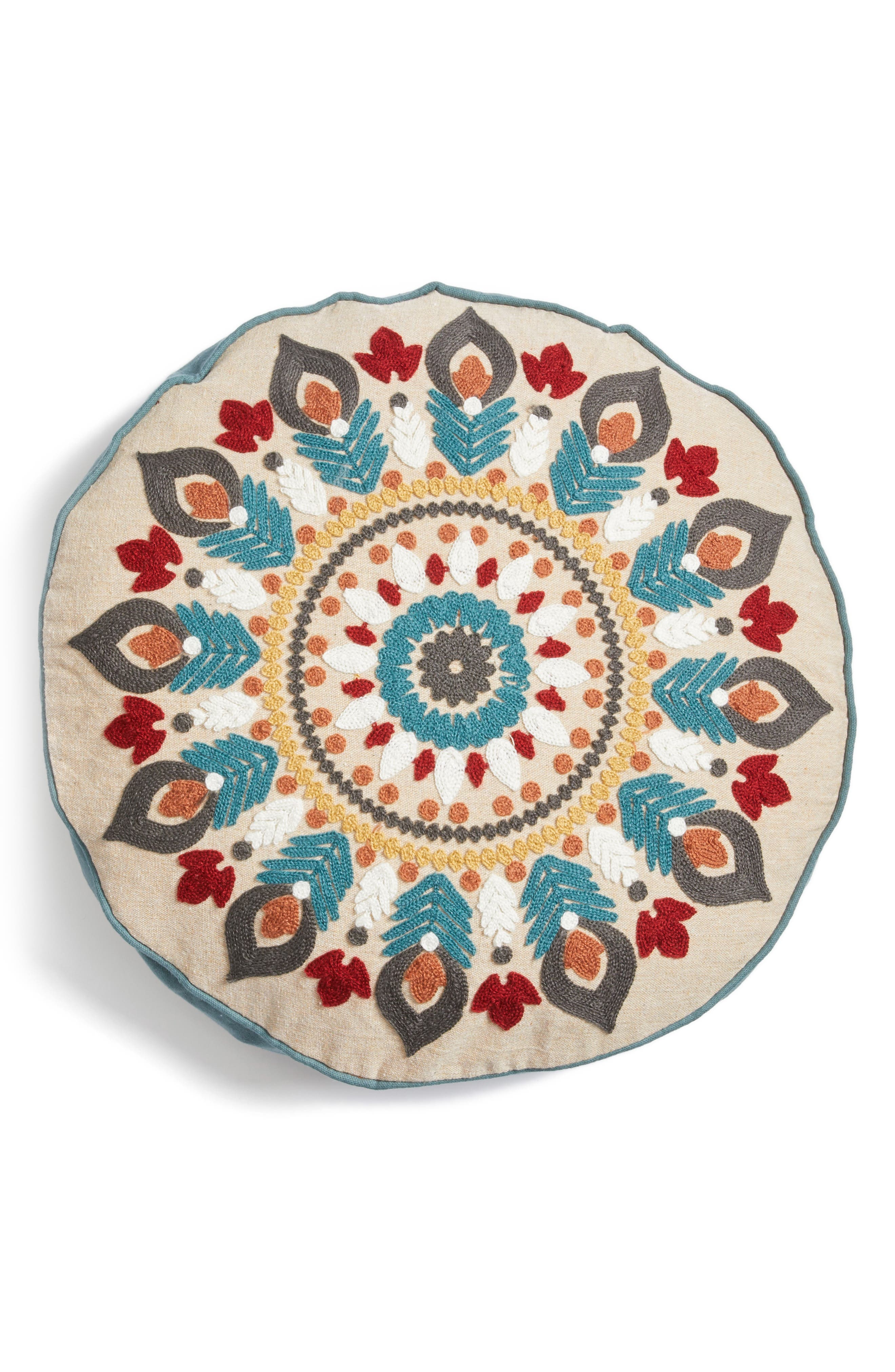 Presidio Embroidered Round Accent Pillow,                         Main,                         color, Natural