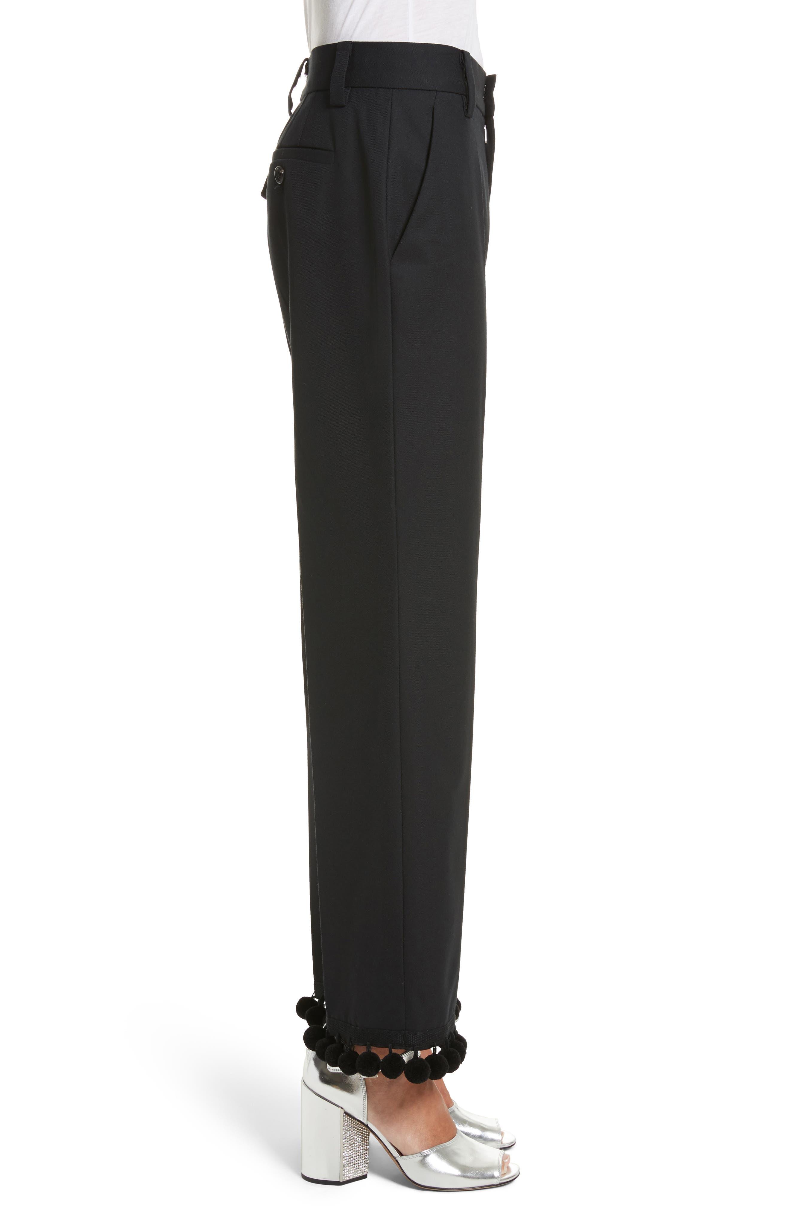Pompom Hem Trousers,                             Alternate thumbnail 3, color,                             Black