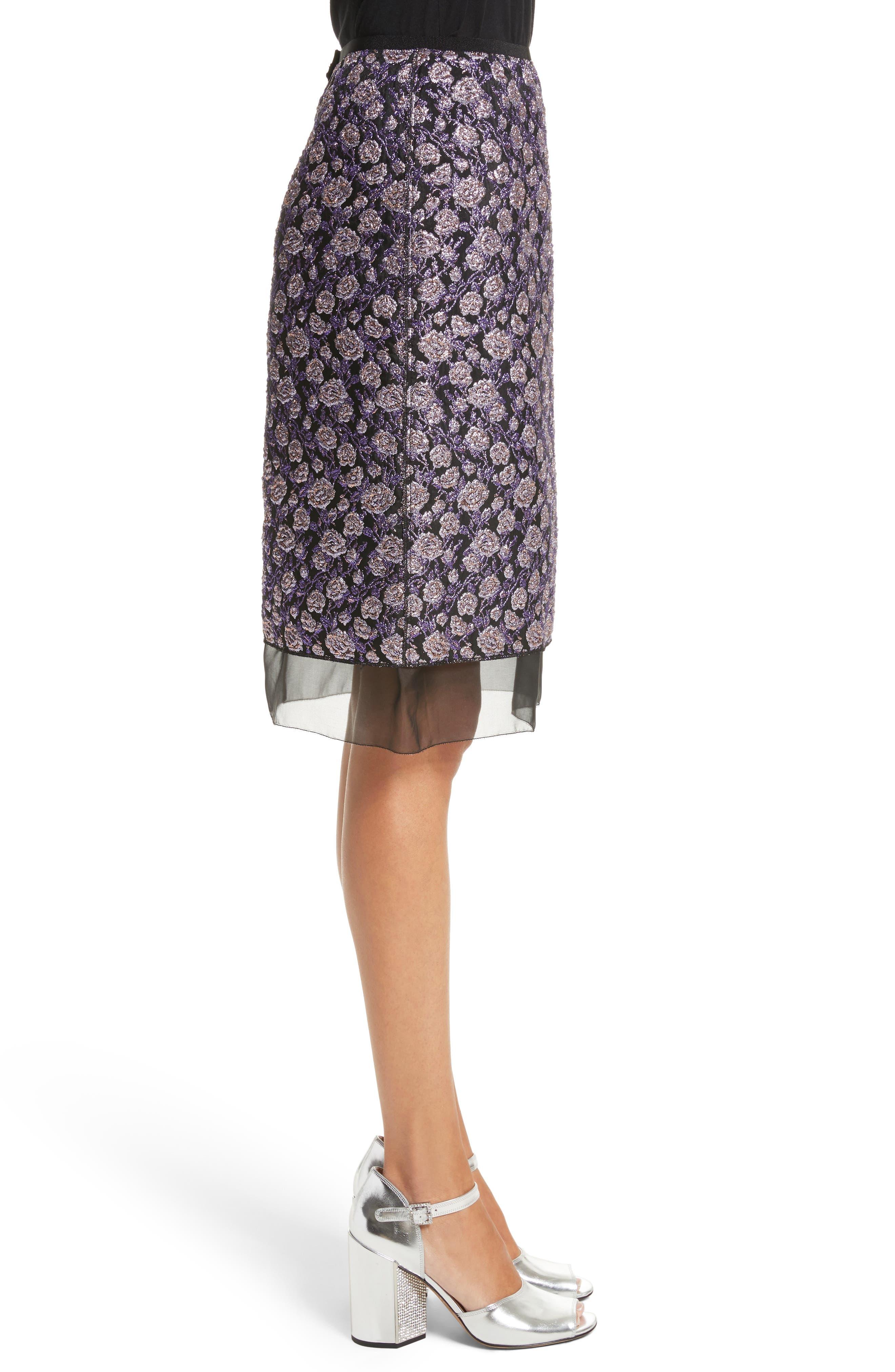 Metallic Jacquard Pencil Skirt,                             Alternate thumbnail 3, color,                             Purple Multi
