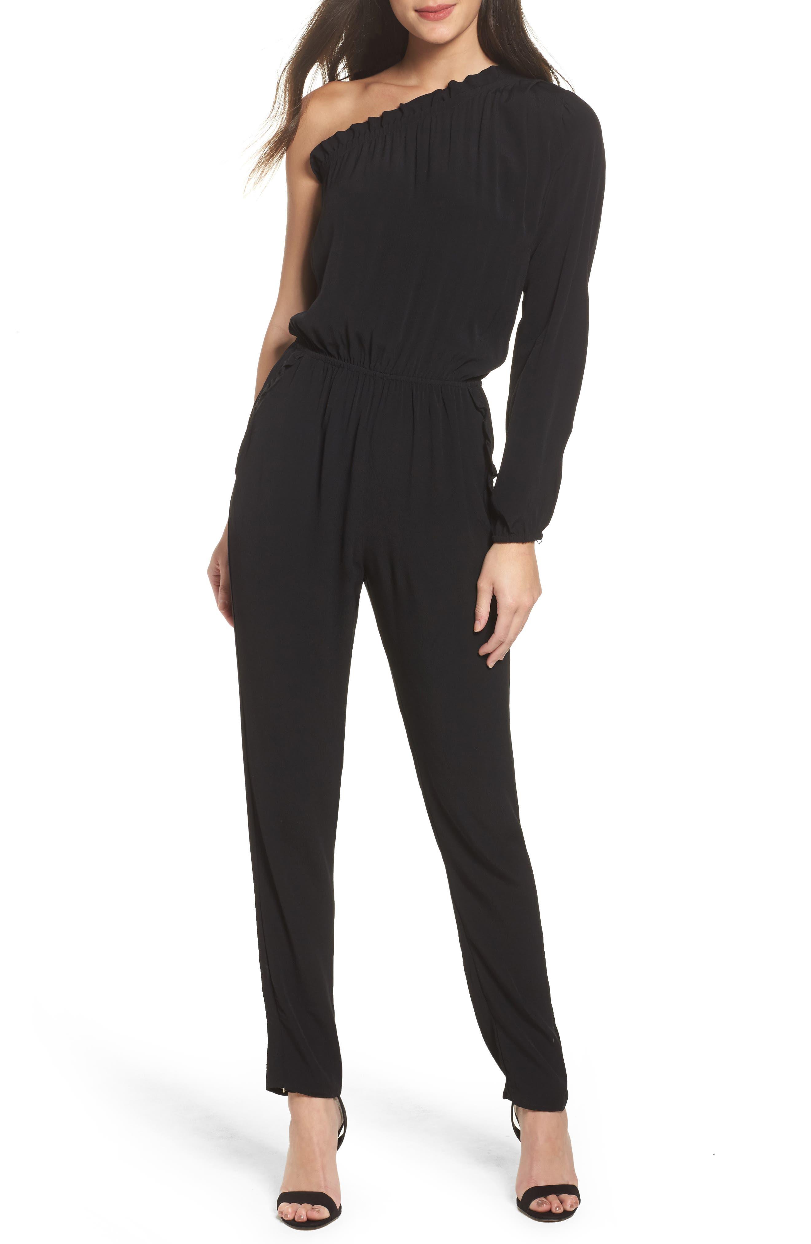 One-Shoulder Jumpsuit,                         Main,                         color, Black
