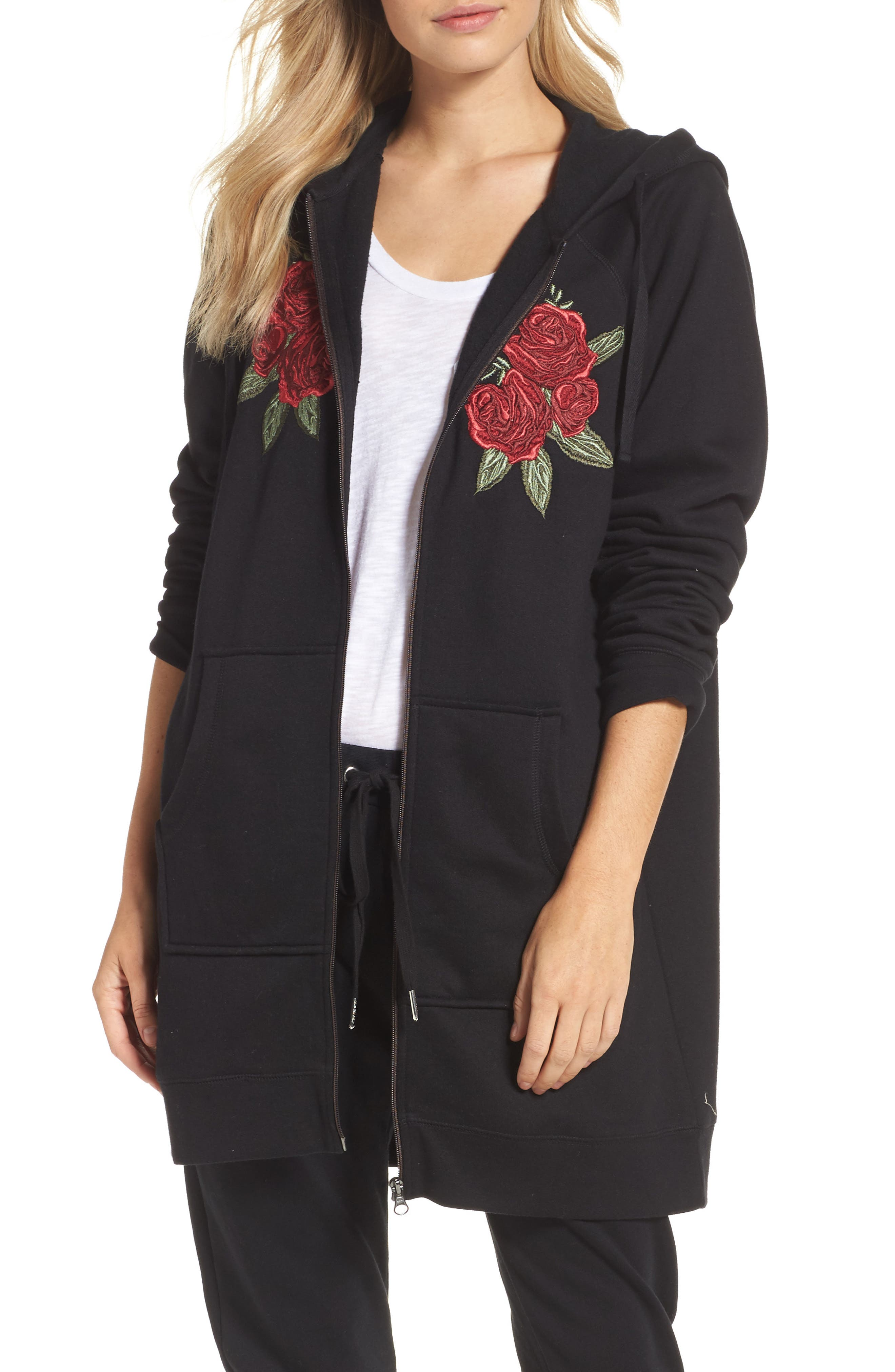 Blonde Embroidered Zip Hoodie,                         Main,                         color, Black White