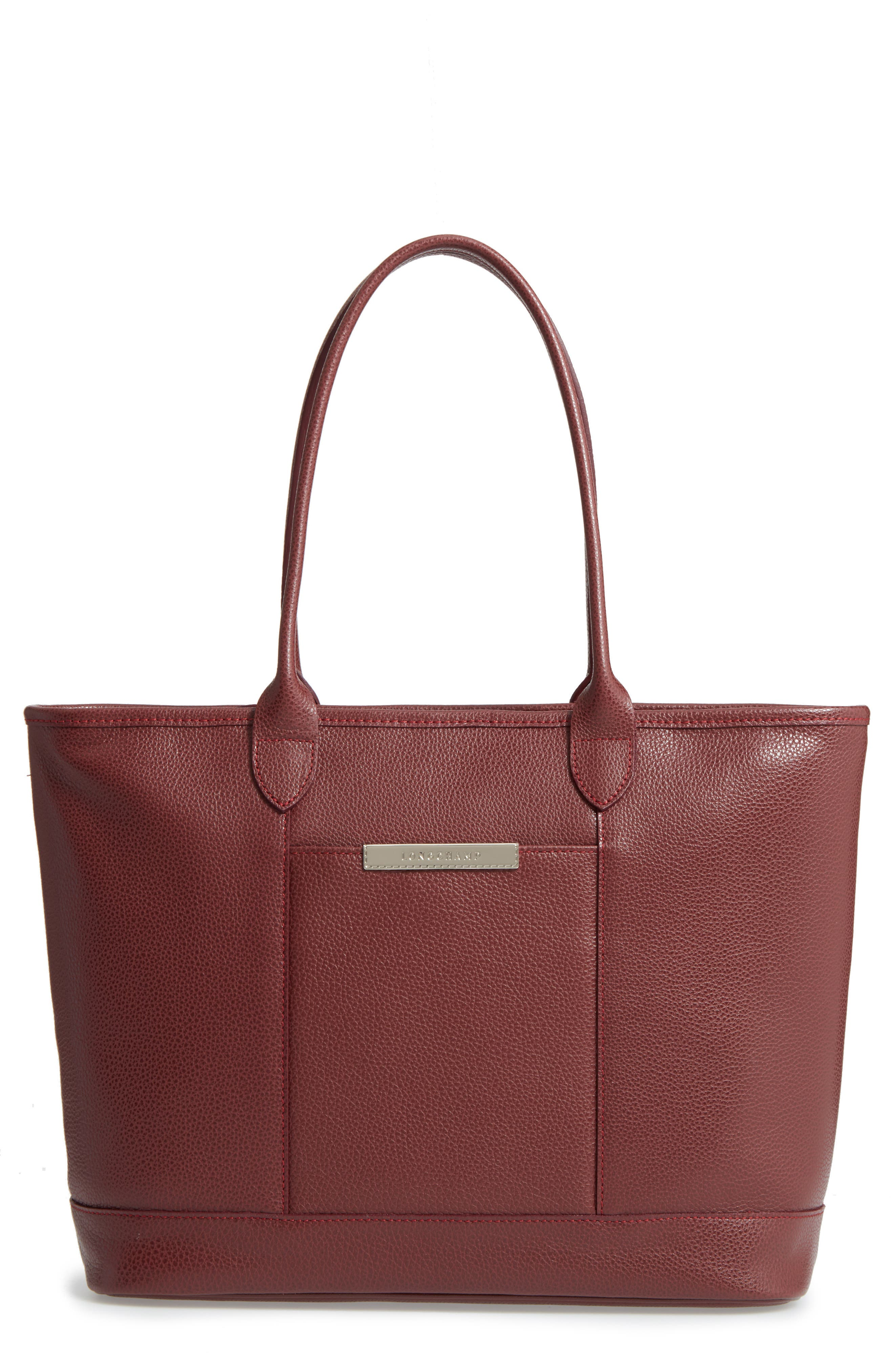 'Veau' Leather Tote,                         Main,                         color, Red Lacquer