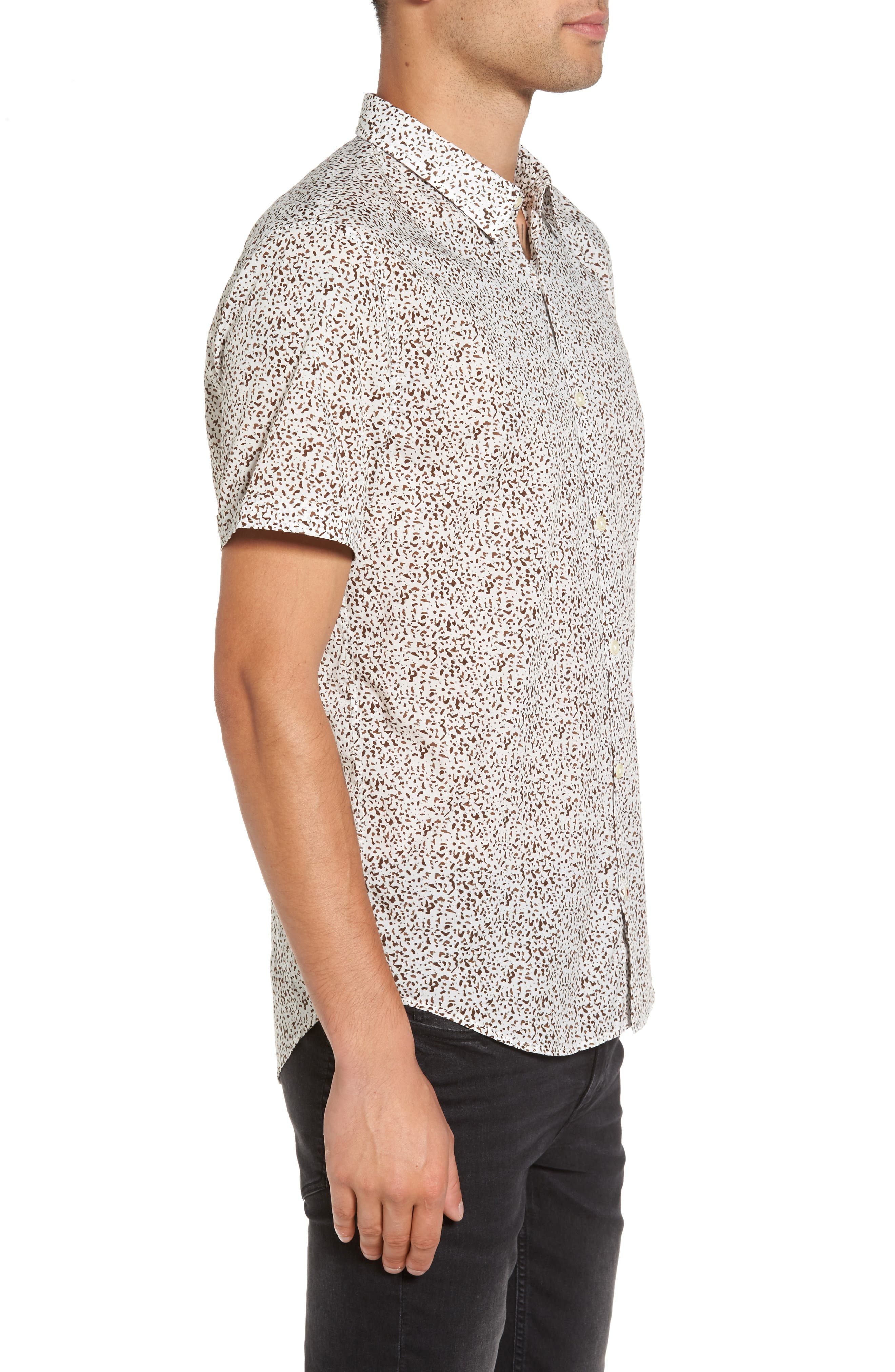 Alternate Image 4  - John Varvatos Star USA Slim Fit Animal Print Short Sleeve Sport Shirt