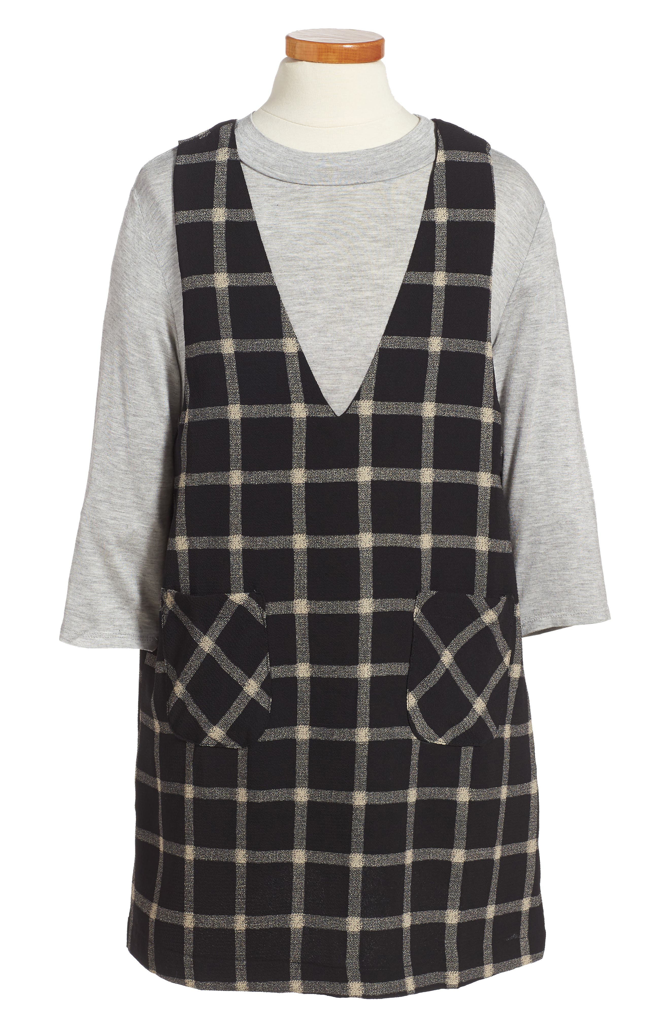 Alternate Image 1 Selected - Good Luck Gem Plaid Top & Jumper Dress Set (Big Girls)