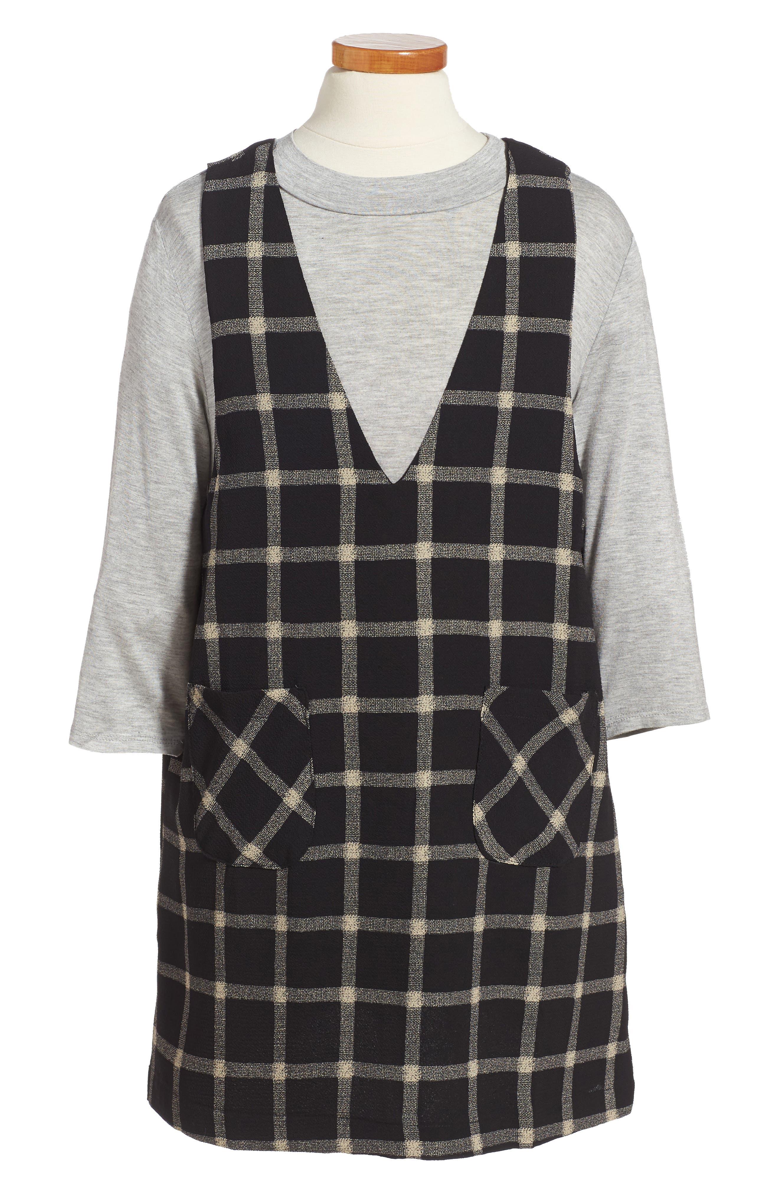 Plaid Top & Jumper Dress Set,                         Main,                         color, Black/ White Windowpane