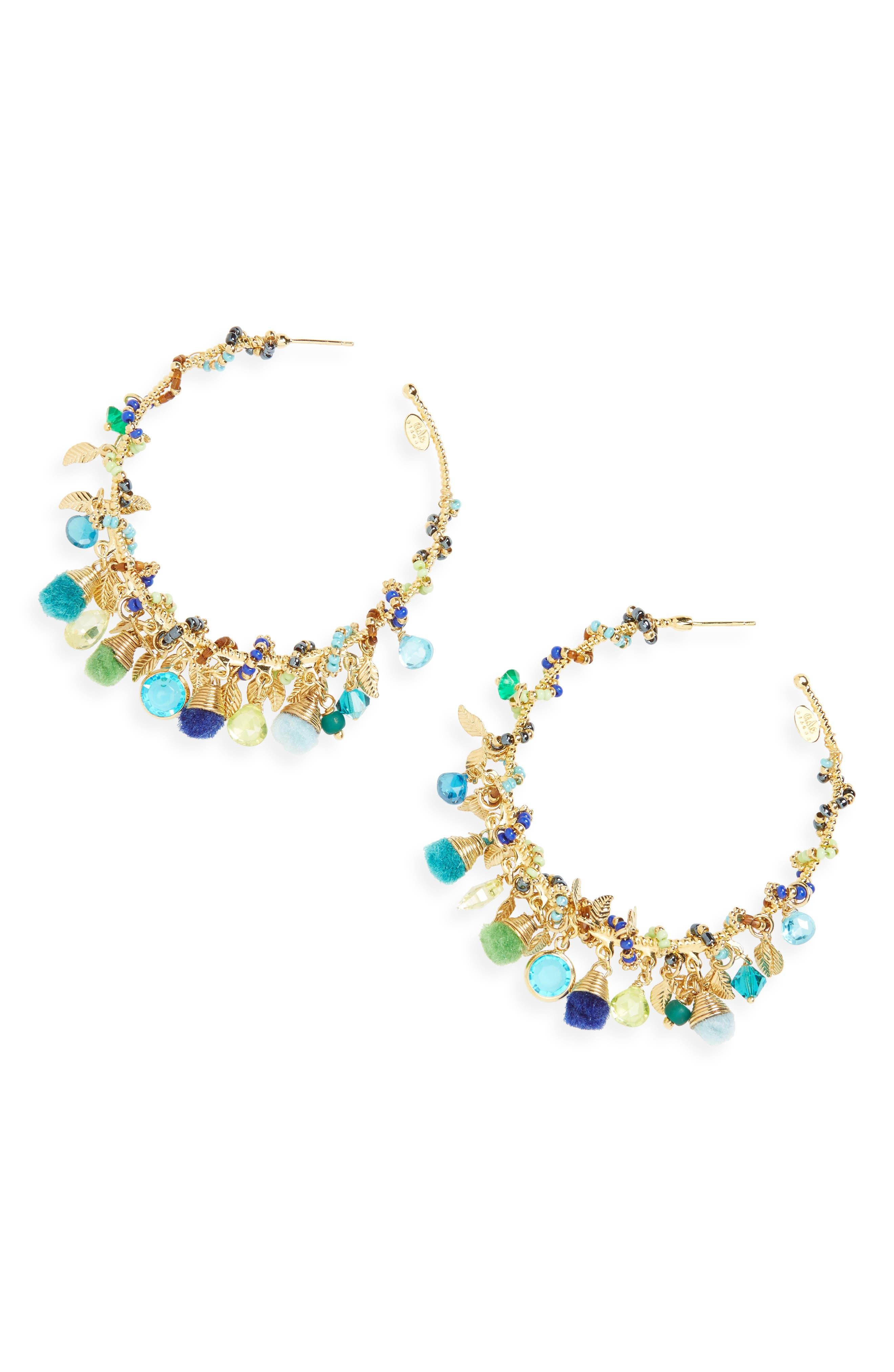 Folia Hoop Earrings,                             Main thumbnail 1, color,                             Blue Green/ Gold