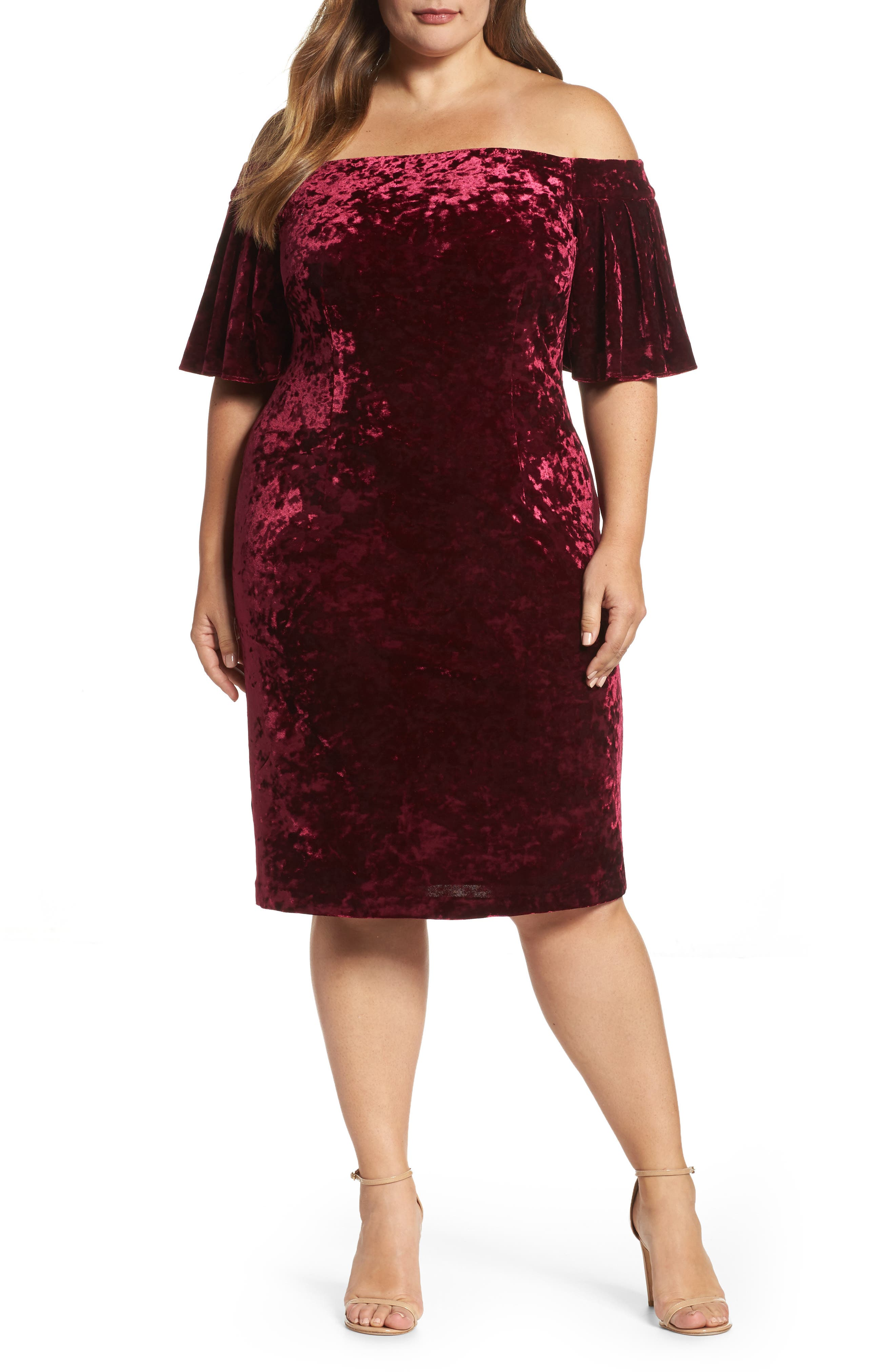 Off the Shoulder Velvet Sheath Dress,                         Main,                         color, Wine