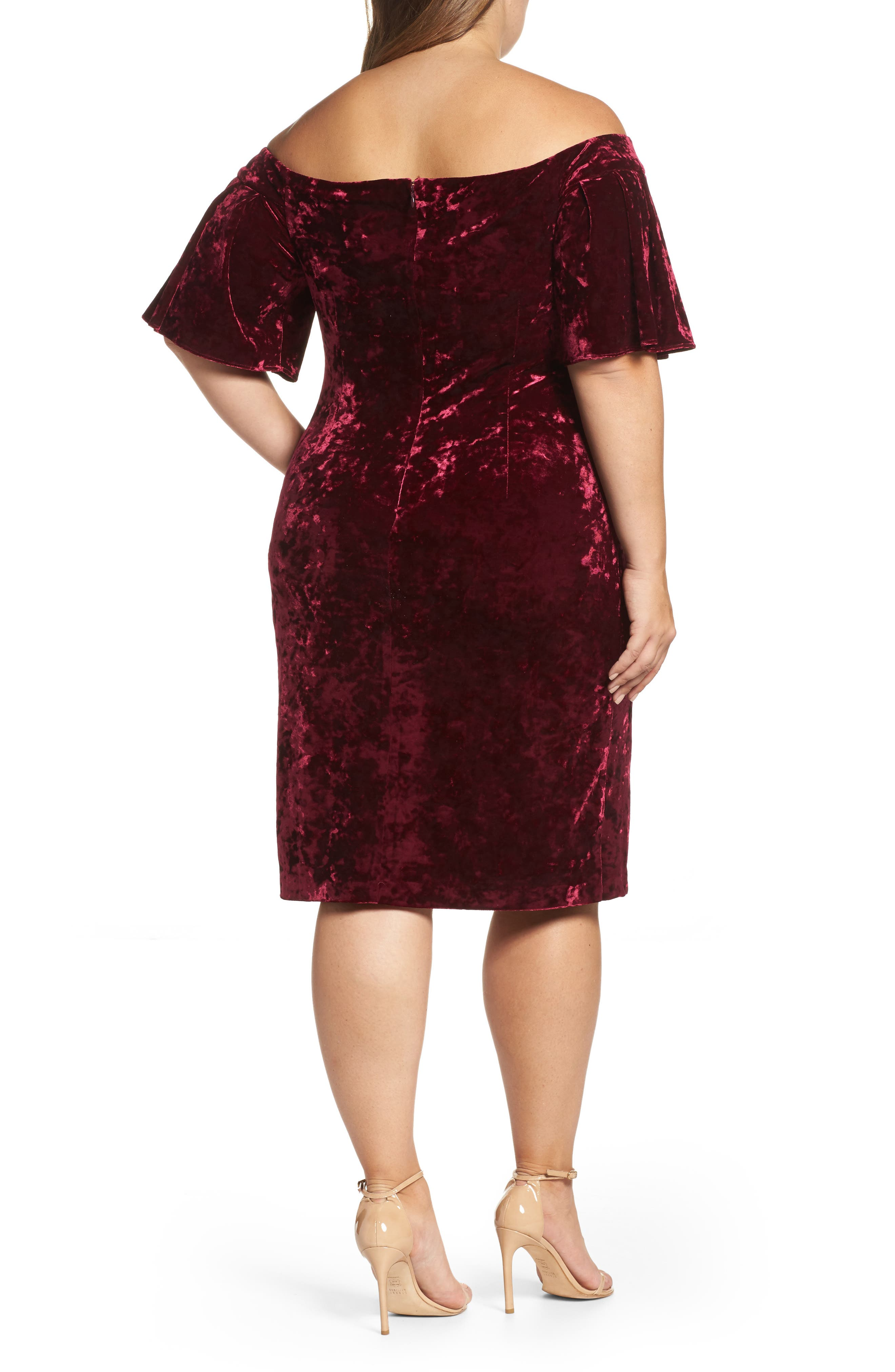 Alternate Image 2  - Eliza J Off the Shoulder Velvet Sheath Dress (Plus Size)