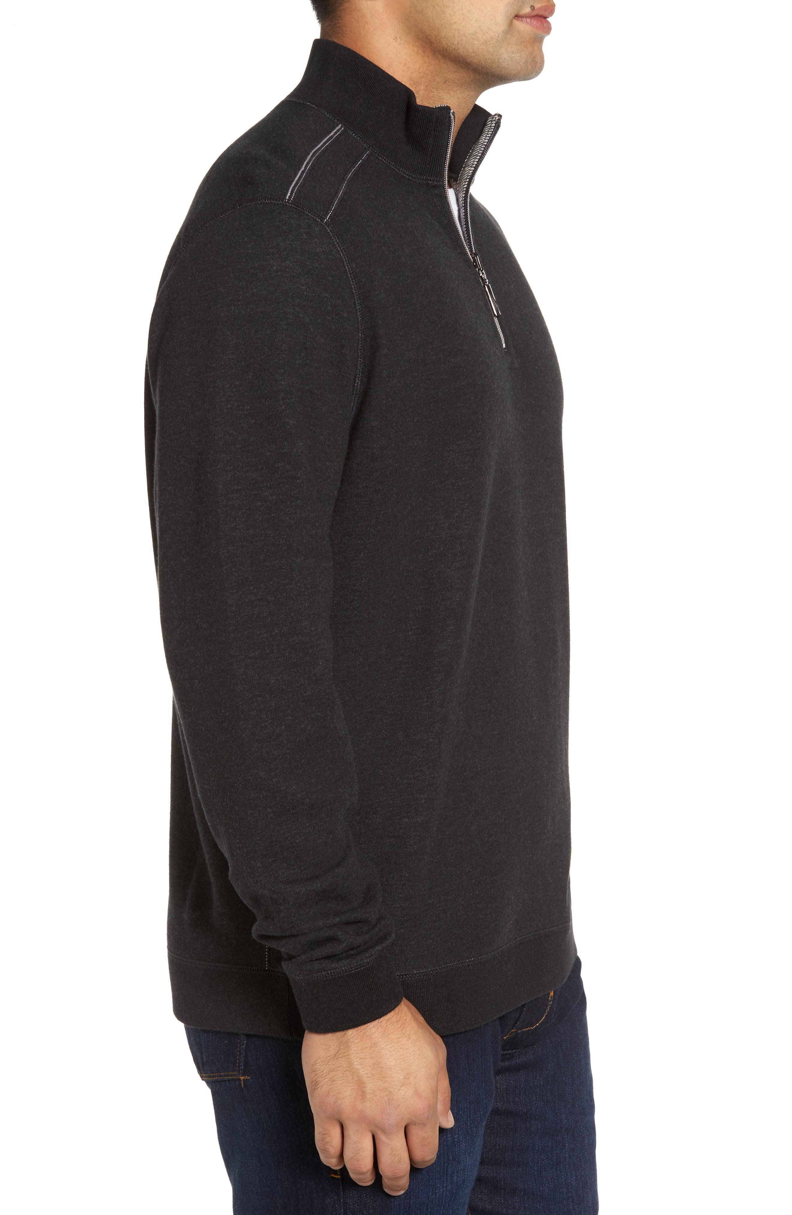 Flip Drive Quarter Zip Pullover,                             Alternate thumbnail 3, color,                             Black