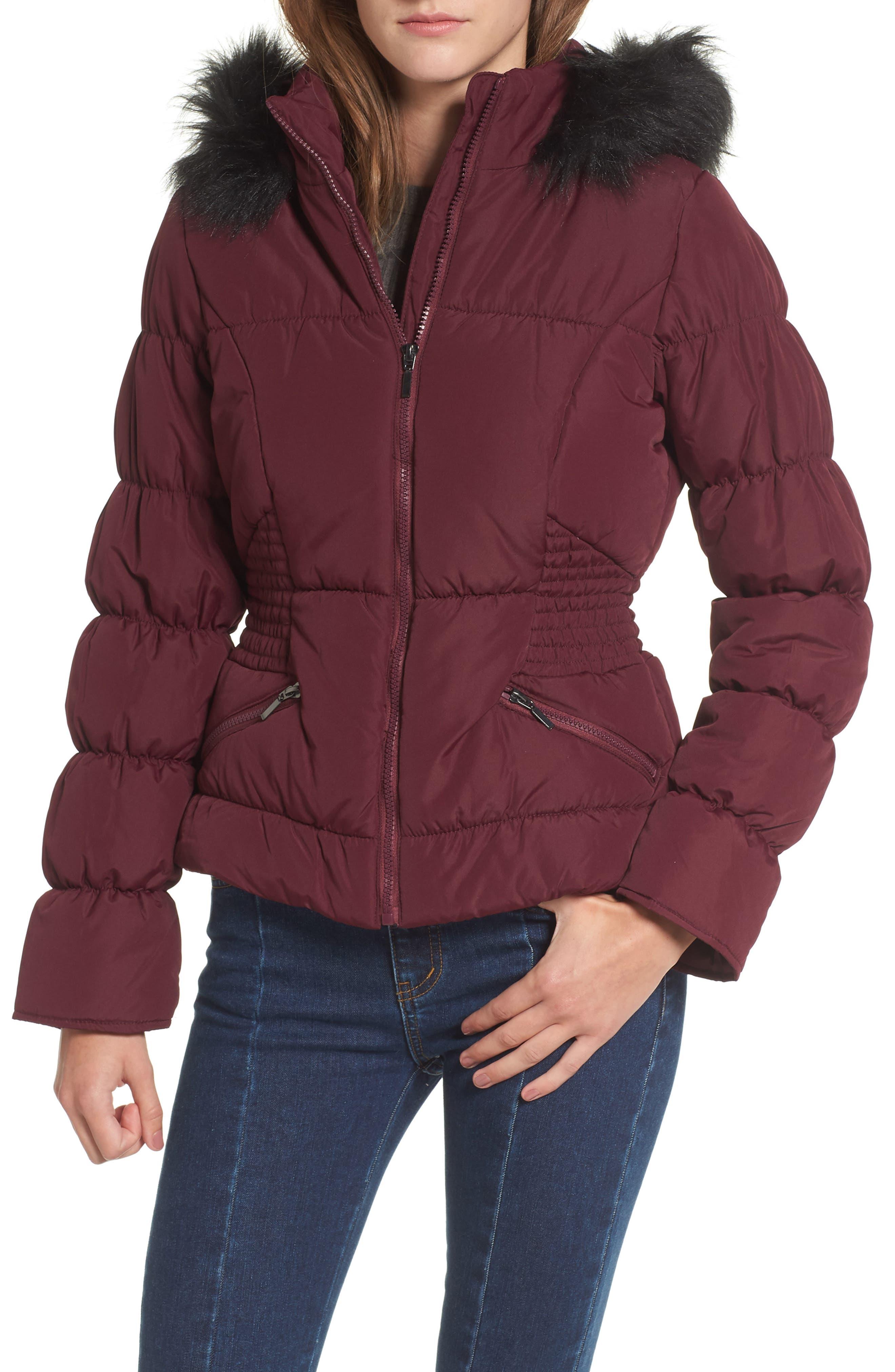 Faux Fur Trim Puffer Coat,                         Main,                         color, Zinfandel