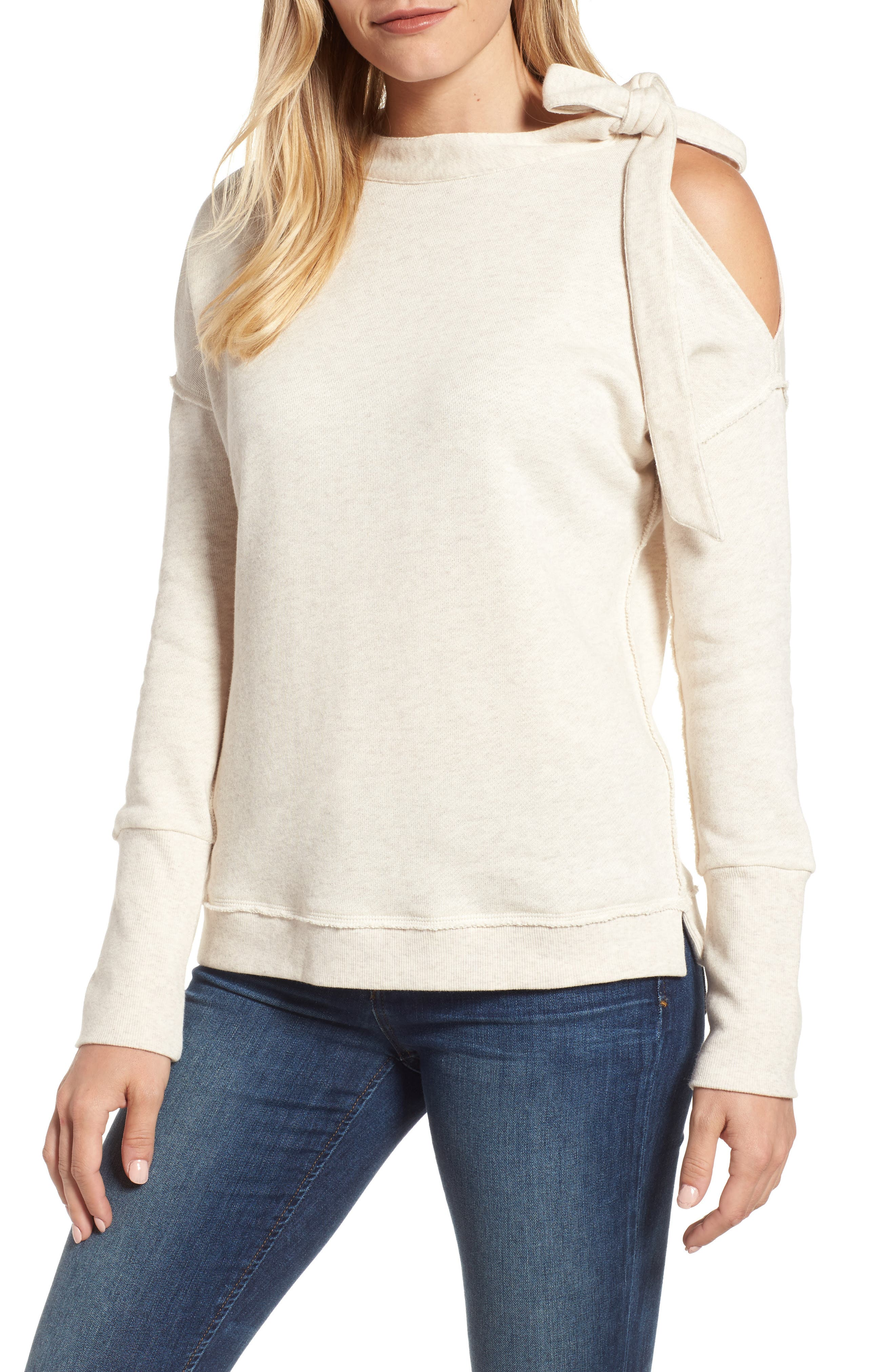 Caslon® Tie Cold Shoulder Sweatshirt (Regular & Petite)
