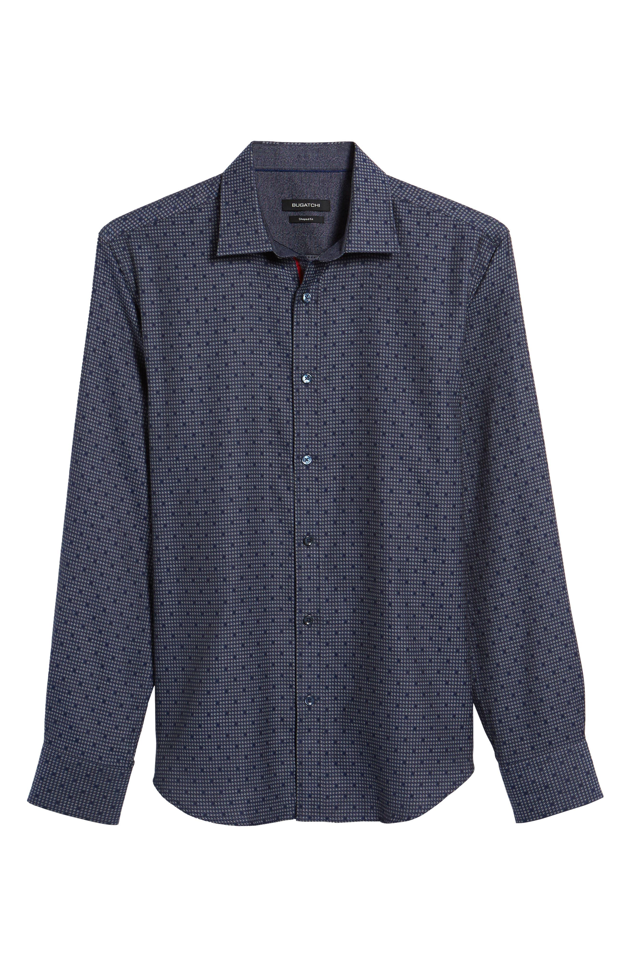 Alternate Image 6  - Bugatchi Trim Fit Dot Houndstooth Sport Shirt