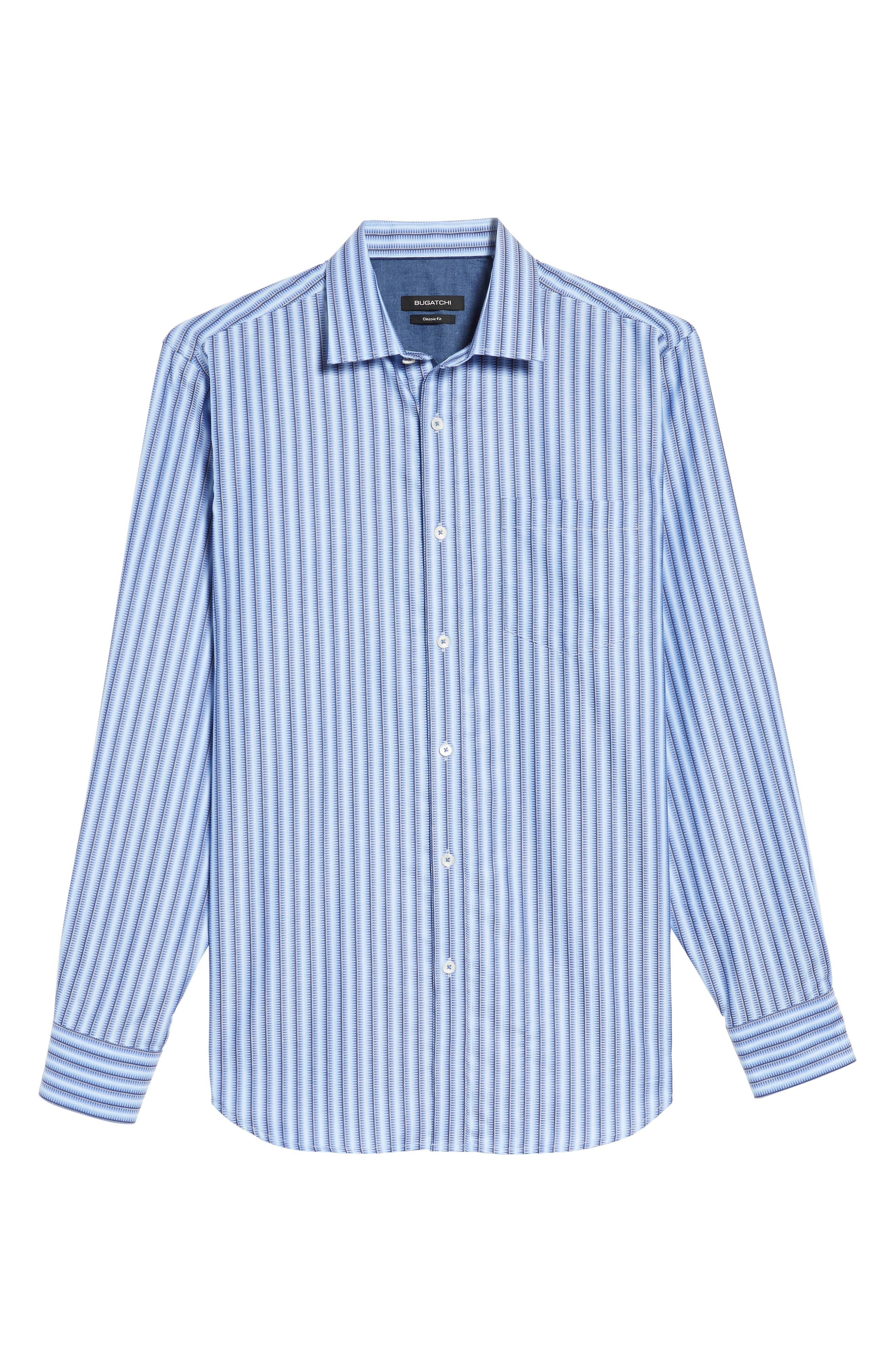 Alternate Image 6  - Bugatchi Classic Fit Striped Sport Shirt