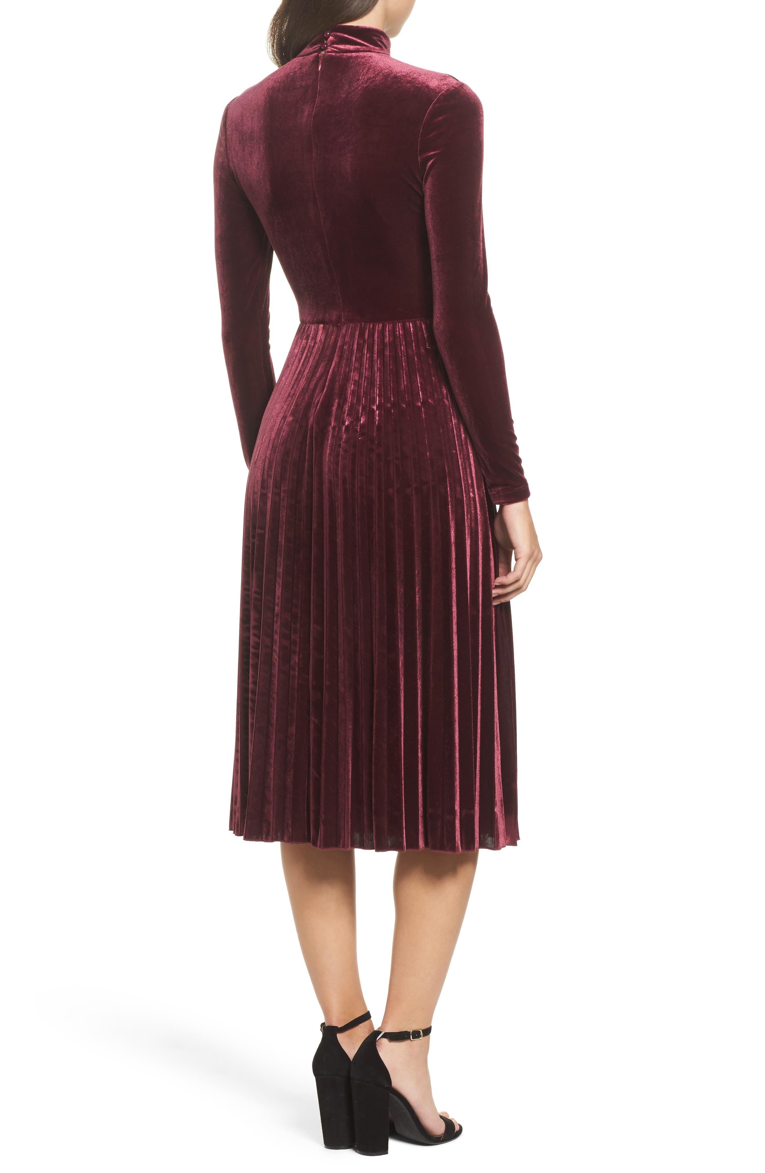 Velvet Midi Dress,                             Alternate thumbnail 2, color,                             Wine