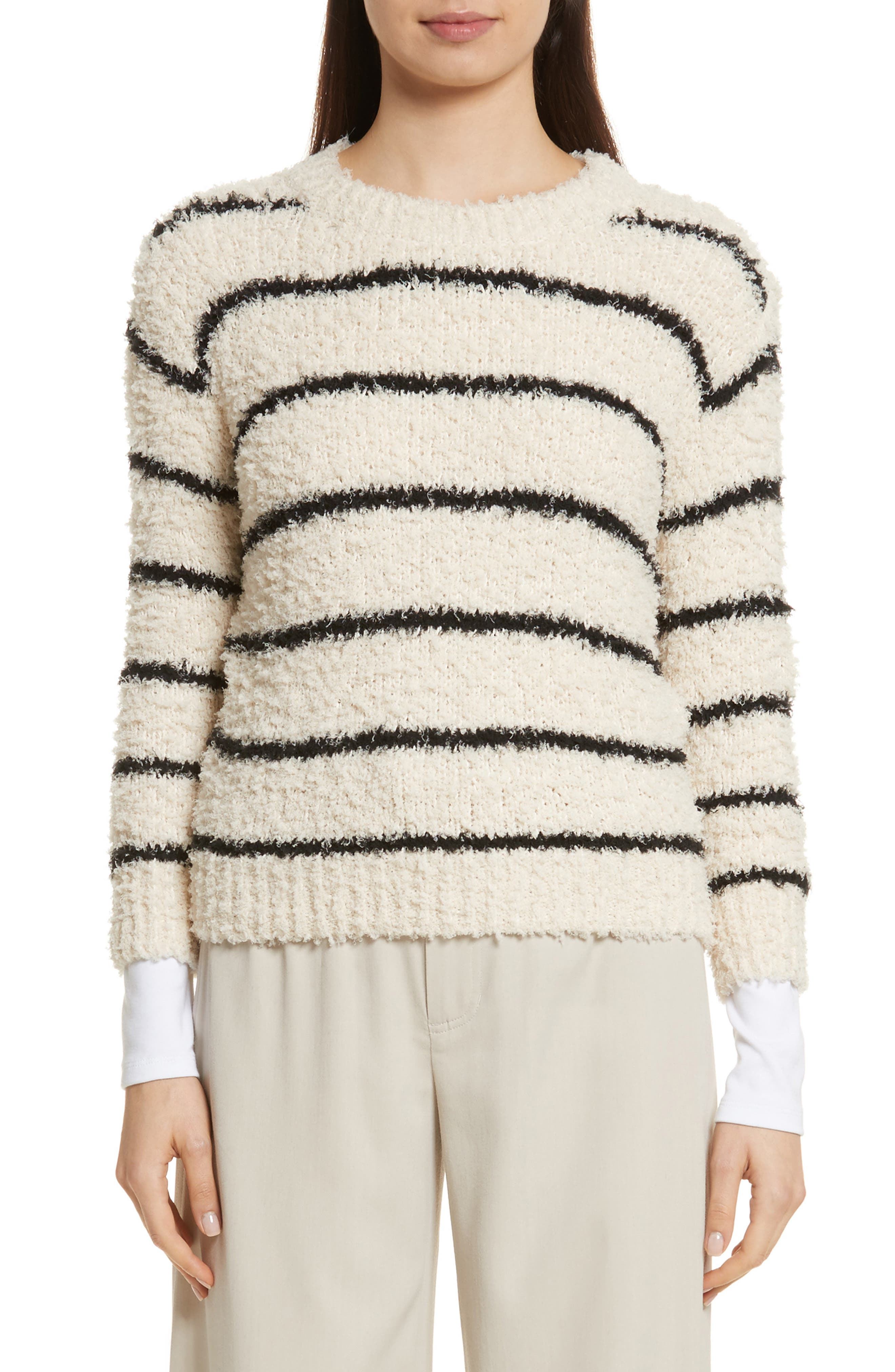 Fuzzy Stripe Sweater,                             Main thumbnail 1, color,                             Cream/ Black