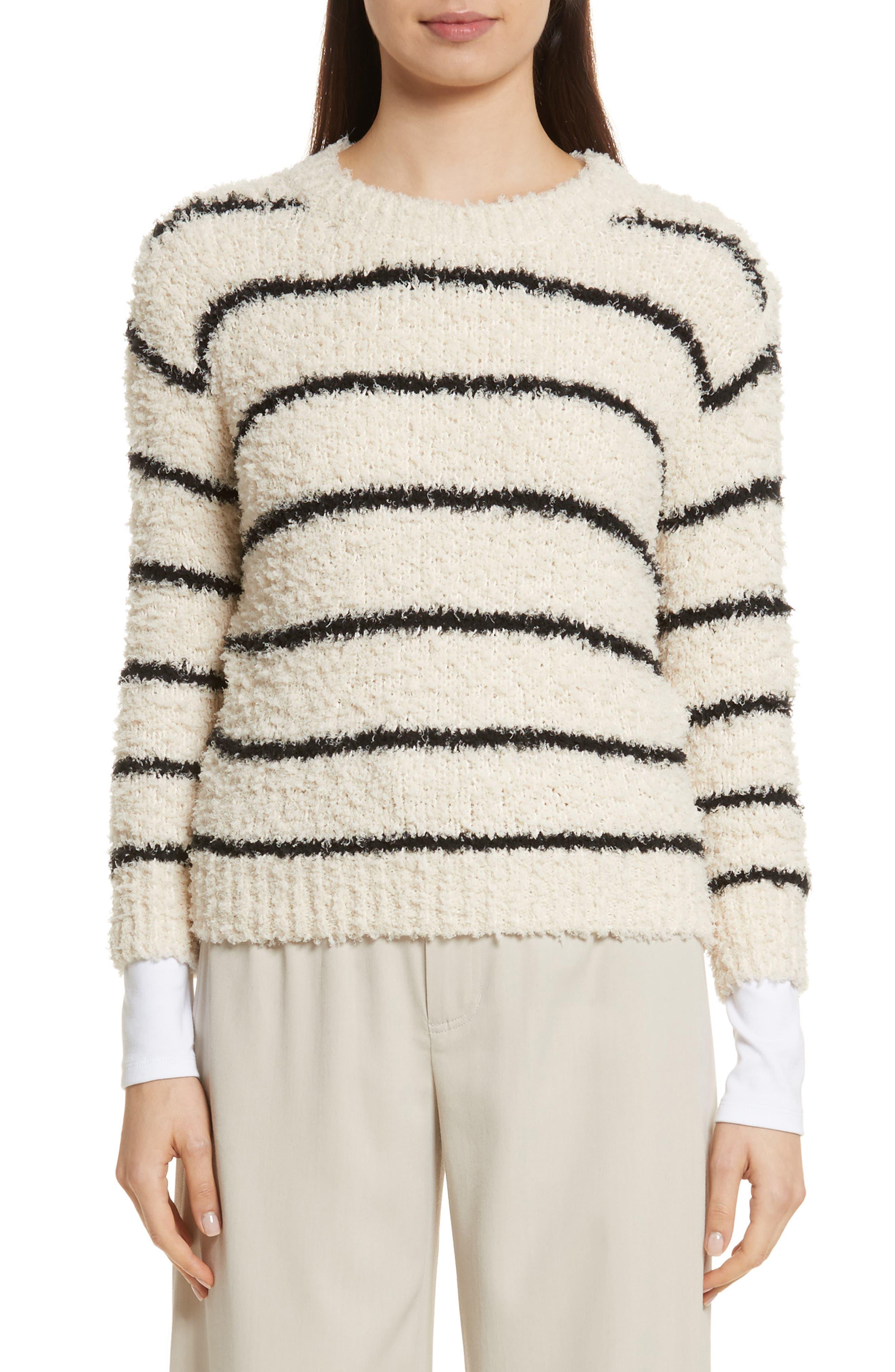 Fuzzy Stripe Sweater,                         Main,                         color, Cream/ Black