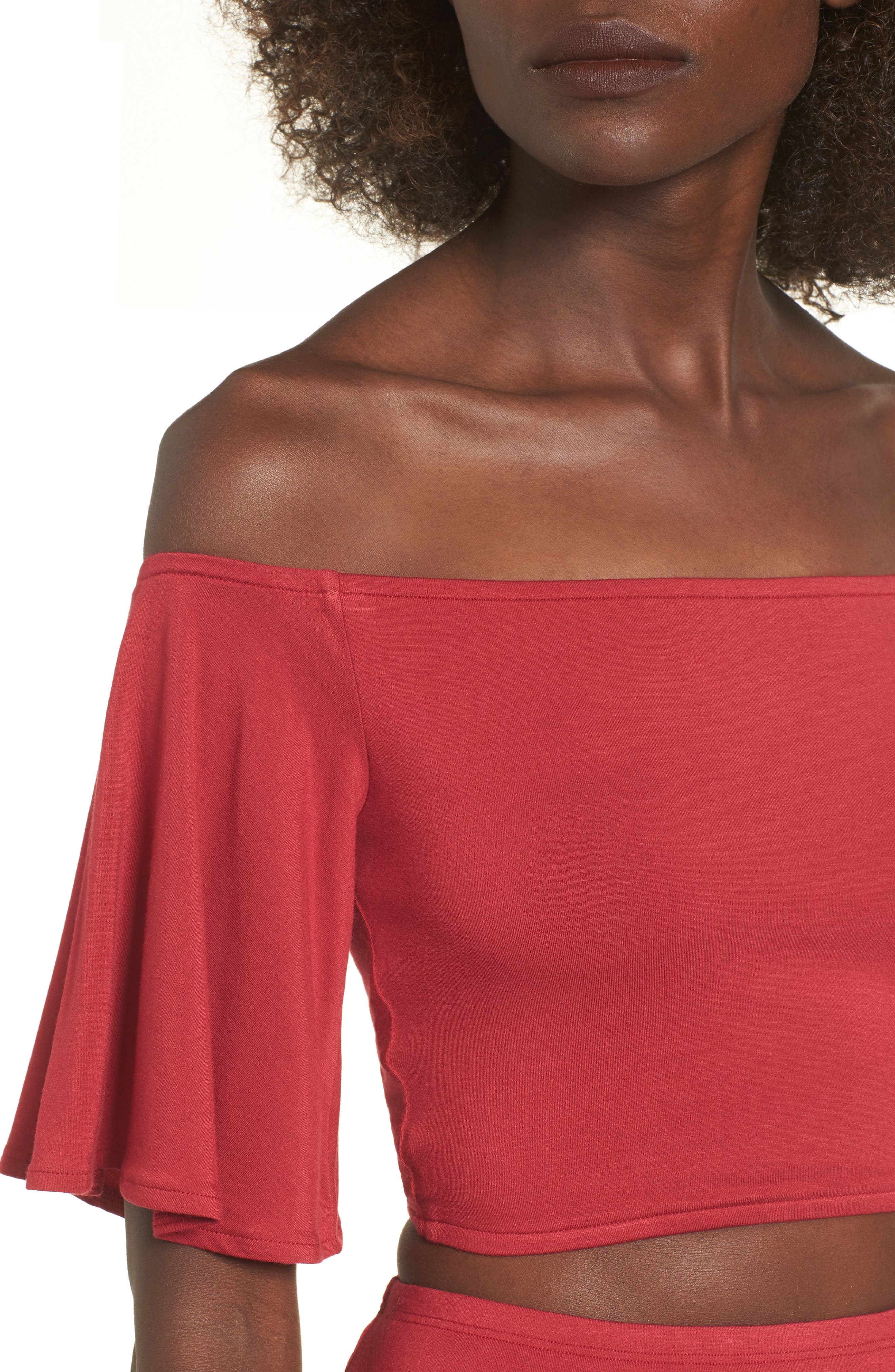 Hills Crop Top,                             Alternate thumbnail 4, color,                             Red